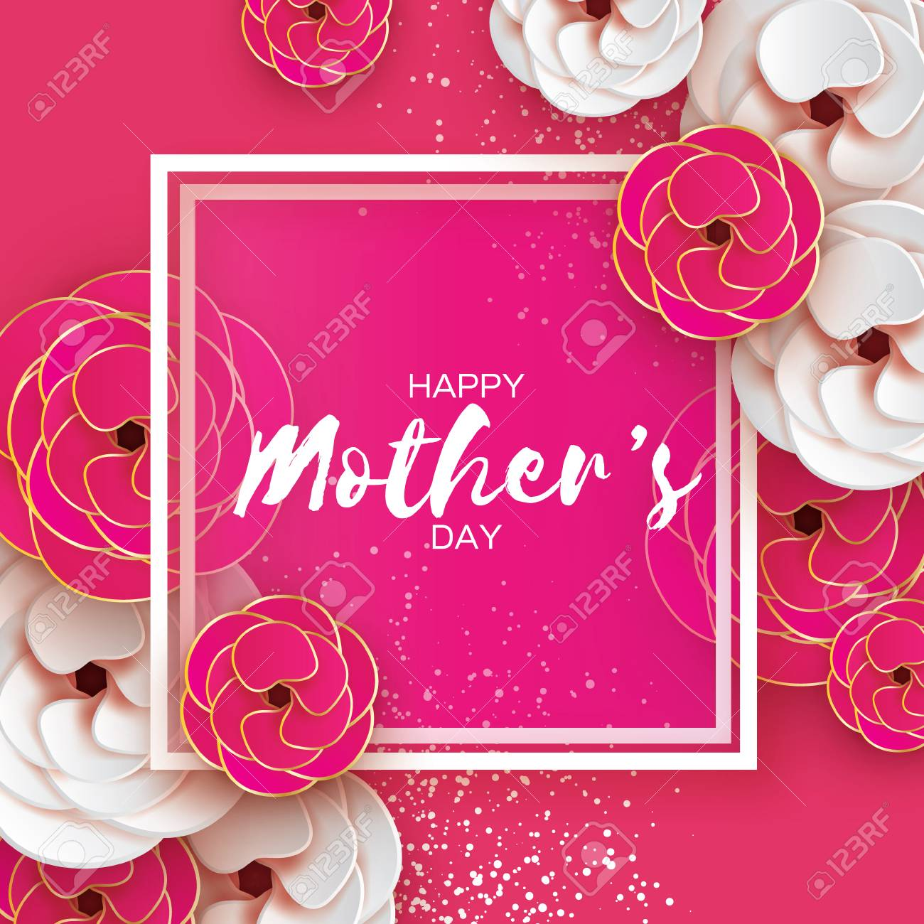 Pink Gold Happy Mothers Day Greeting Card Womens Day Paper