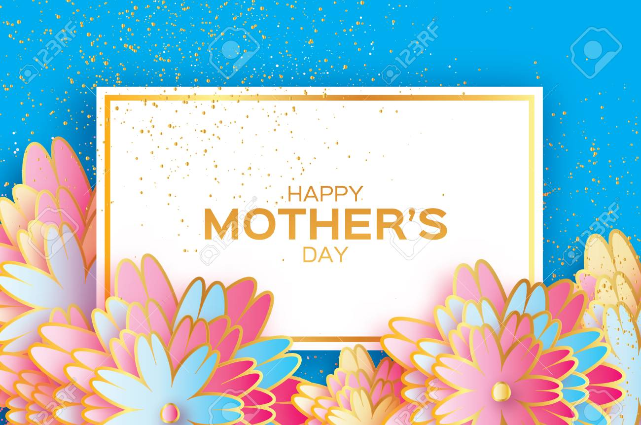 Happy Mothers Day. Origami Gold Floral Greeting Card. Paper Cut ...