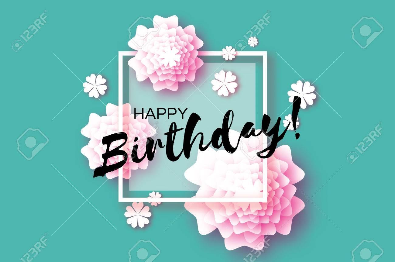 Cute Happy Birthday Paper Cut Greeting Card Origami Floral Blue