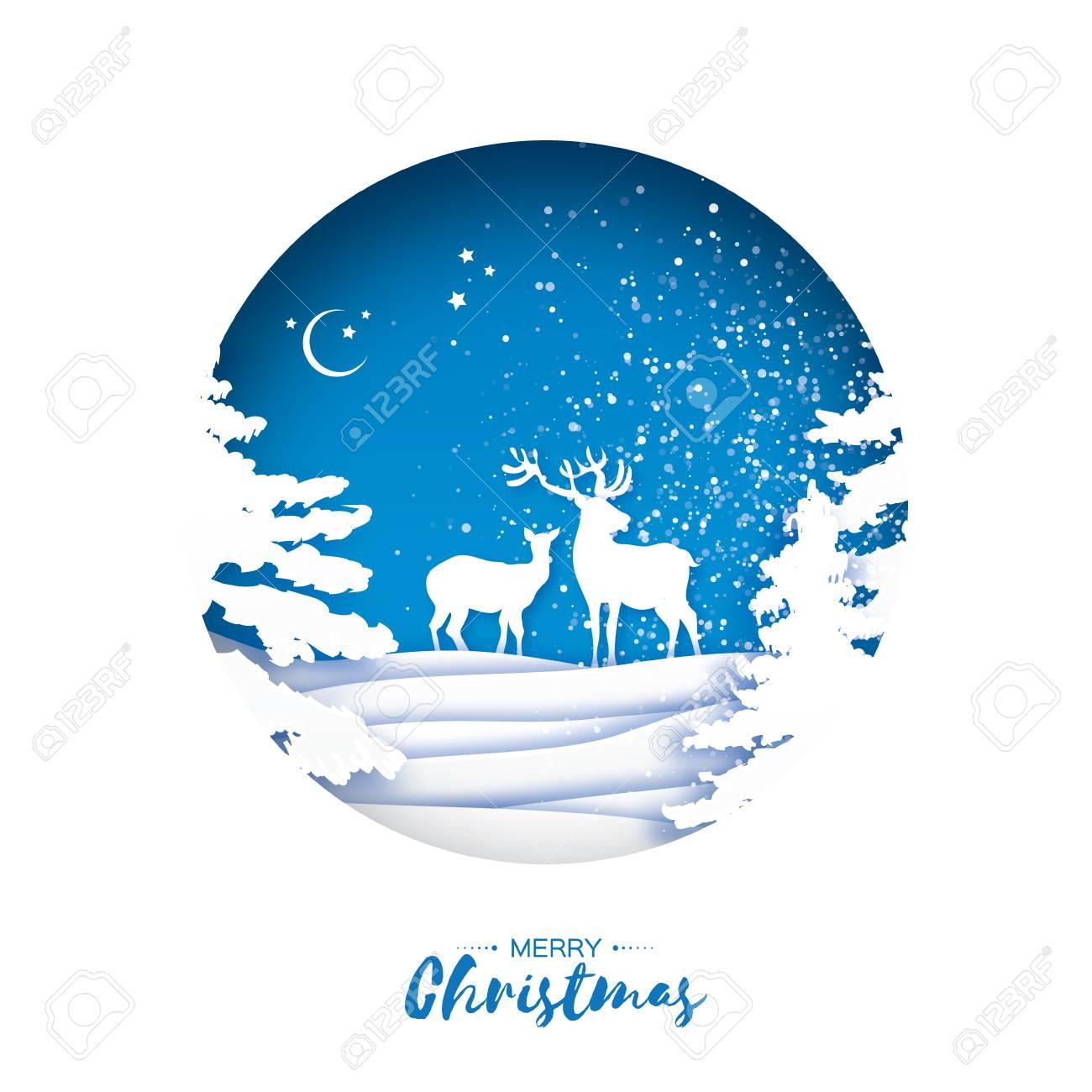 Merry christmas greeting card in paper cut style snow winter merry christmas greeting card in paper cut style snow winter forest landscape with deer m4hsunfo