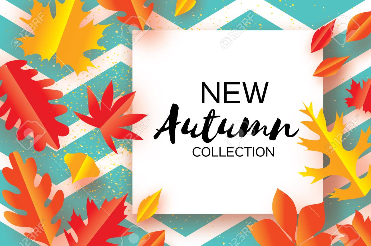Schöne Gold Herbst Papier Schneiden Blätter. Hallo Herbst. September ...