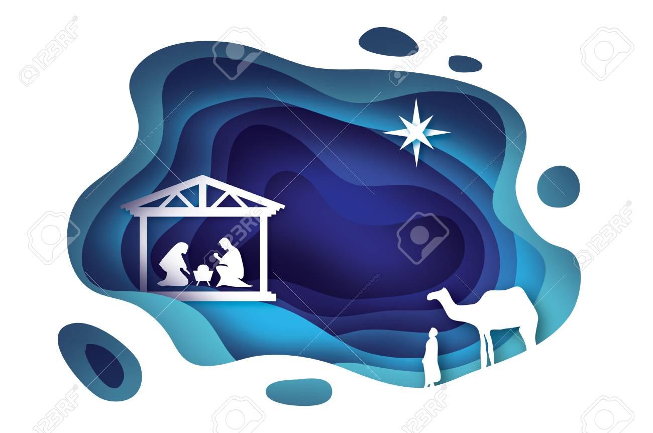 Nacimiento De Cristo Bebé Jesús En El Pesebre. Sagrada Familia. Los ...