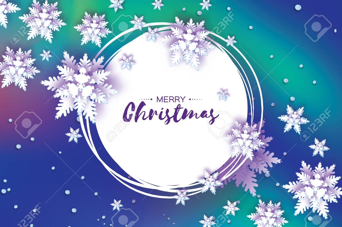 Origami Snowfall. Merry Christmas Greetings Card. White Paper ...
