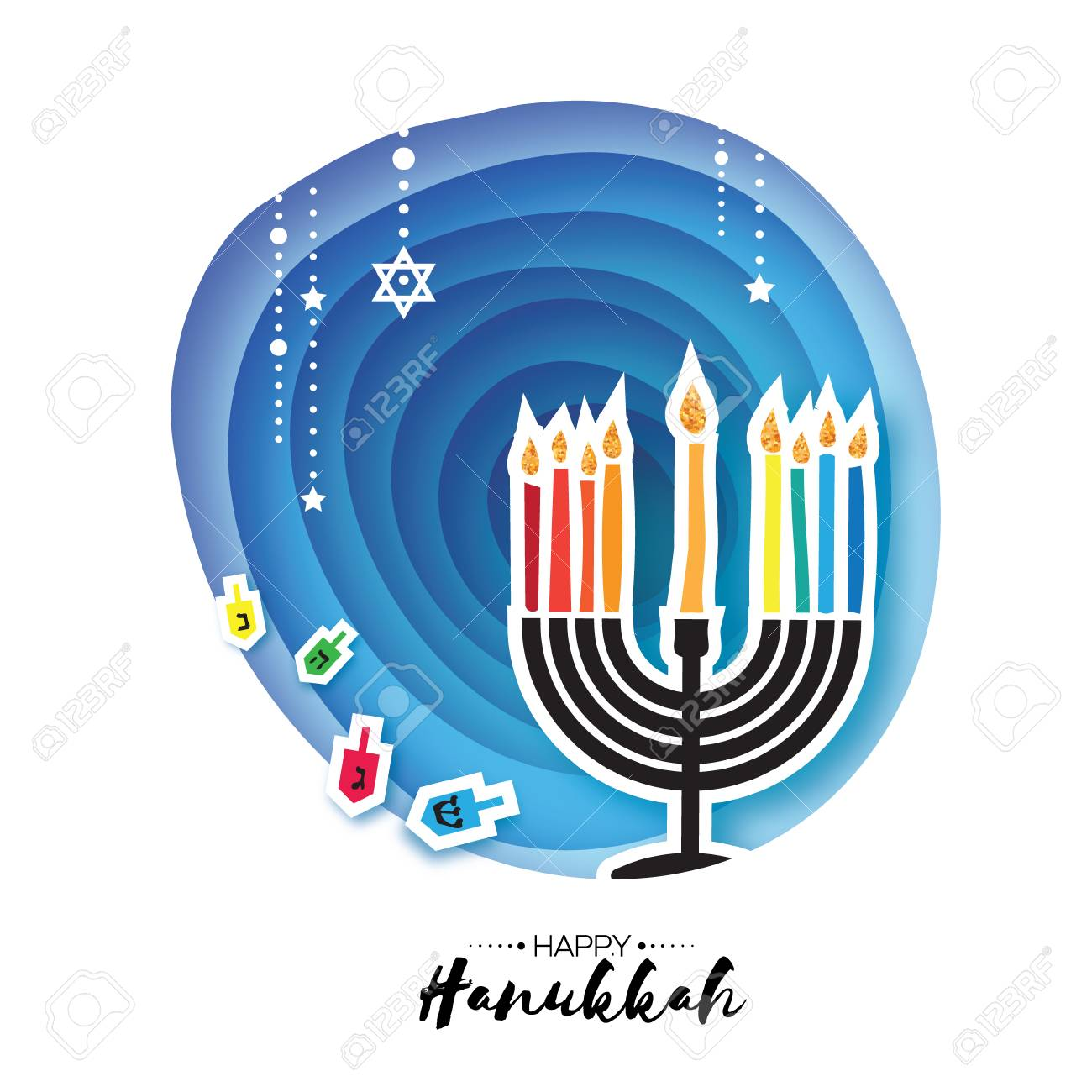 Origami happy hanukkah greeting card for the jewish holiday origami happy hanukkah greeting card for the jewish holiday menorah traditional candelabra and burning m4hsunfo