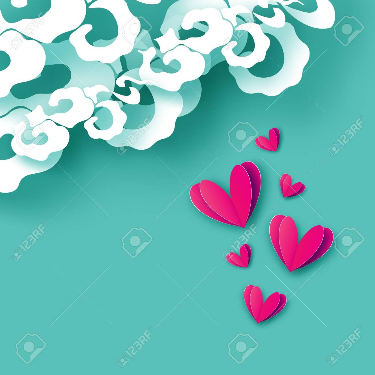 Una Lluvia De Corazón Amor Con Corazón De Papel Cortado Tarjeta De