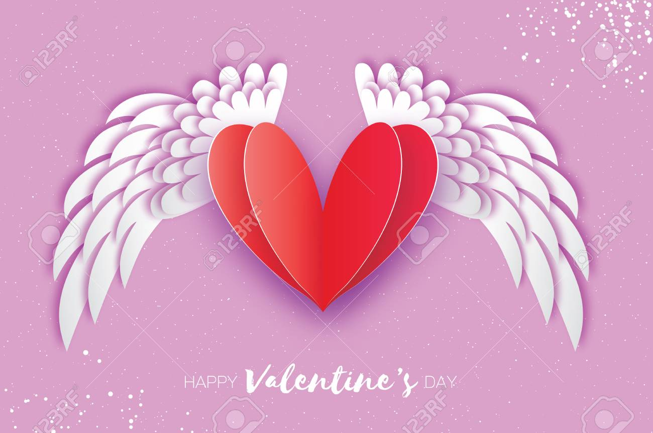 Happy Valentines Day Greeting Card With Winged Heart Design Royalty