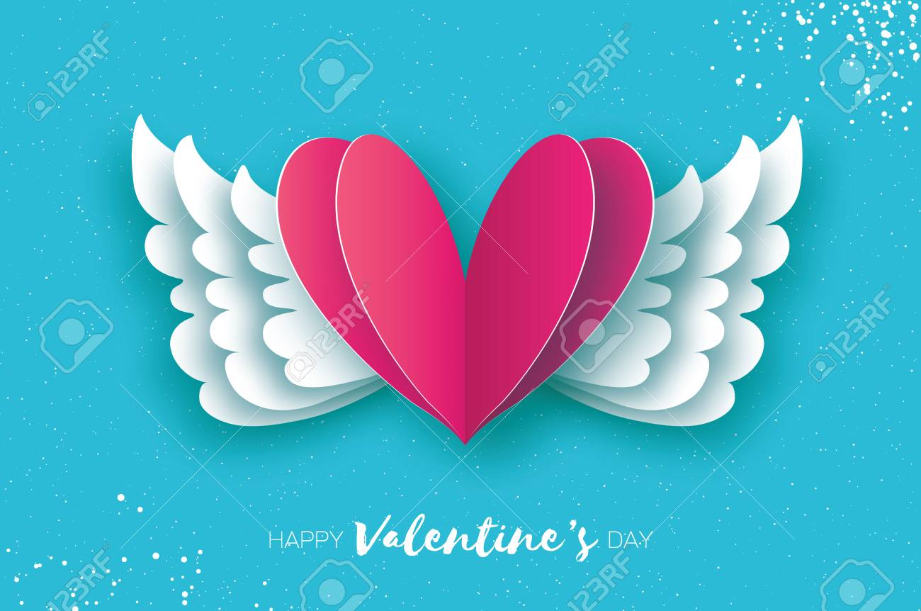 Origami Angel Wings And Romantic Pink Heart Stock Vector