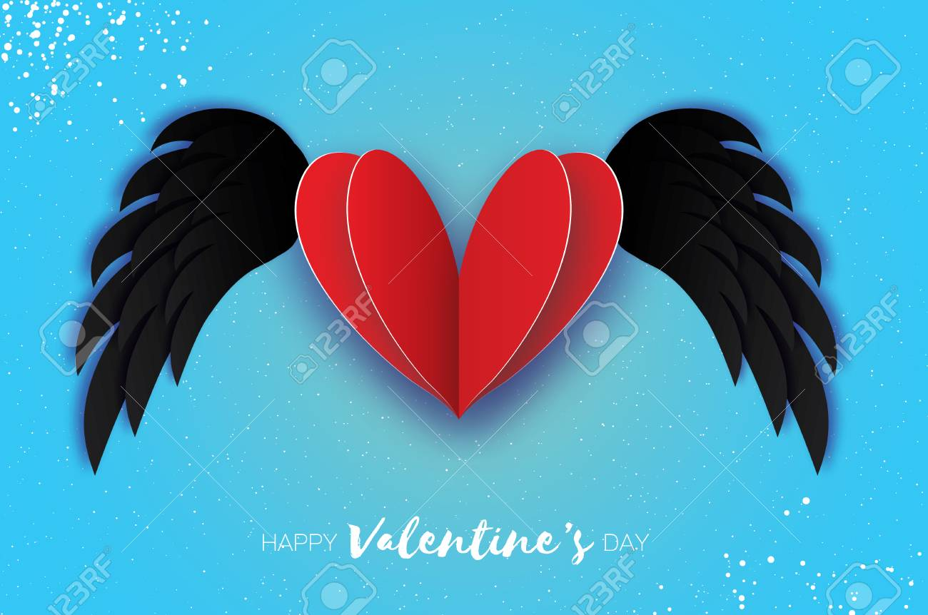 Happy Valentines Day Greetings Card Origami Black Angel Wings And Romantic Red Heart Love