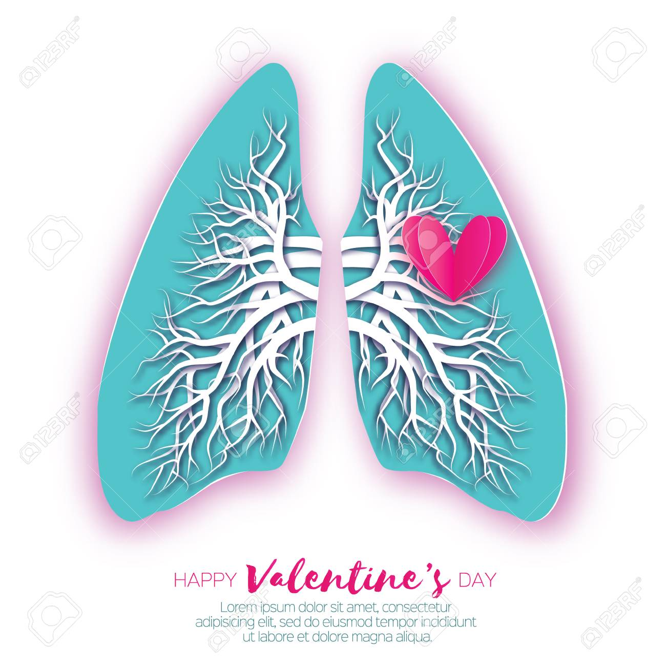 Lungs Origami. Love Heart. Blue Paper Cut Human Lungs Anatomy ...