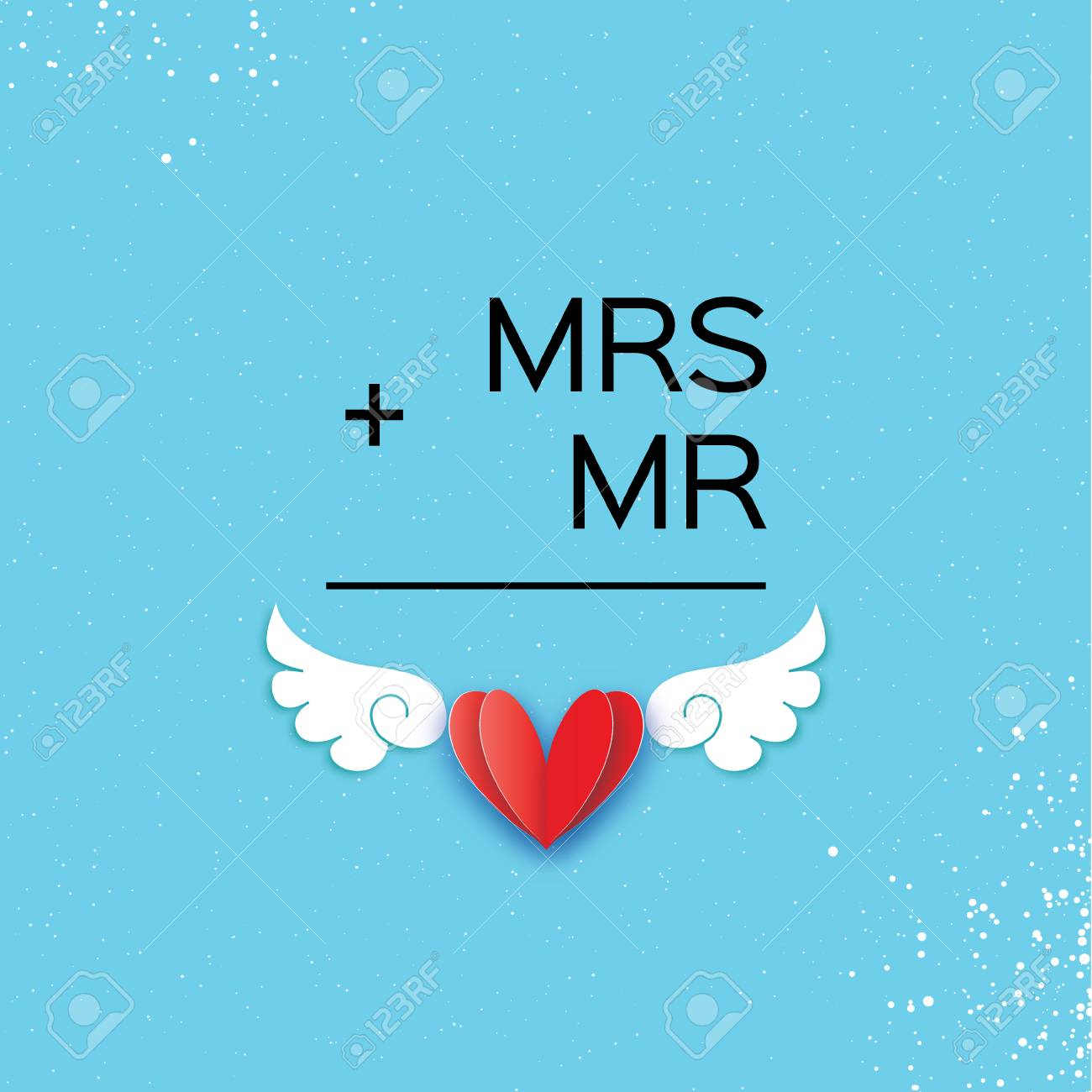 Mr And Mrs Words Mister Plus Missis Equal Love On Sky Blue In Paper Cut