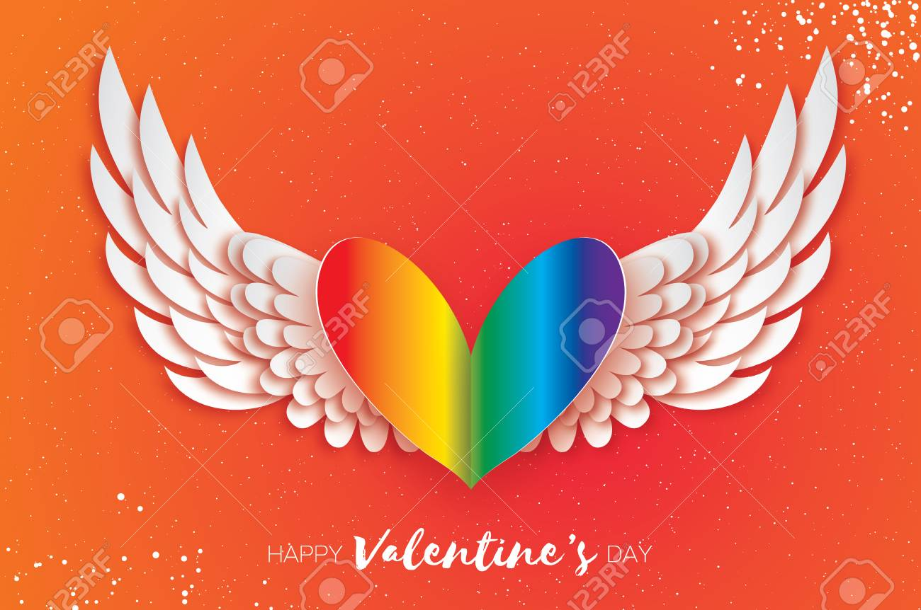 Happy Valentines Gay Day Greetings Card Origami Cute Angel Stock