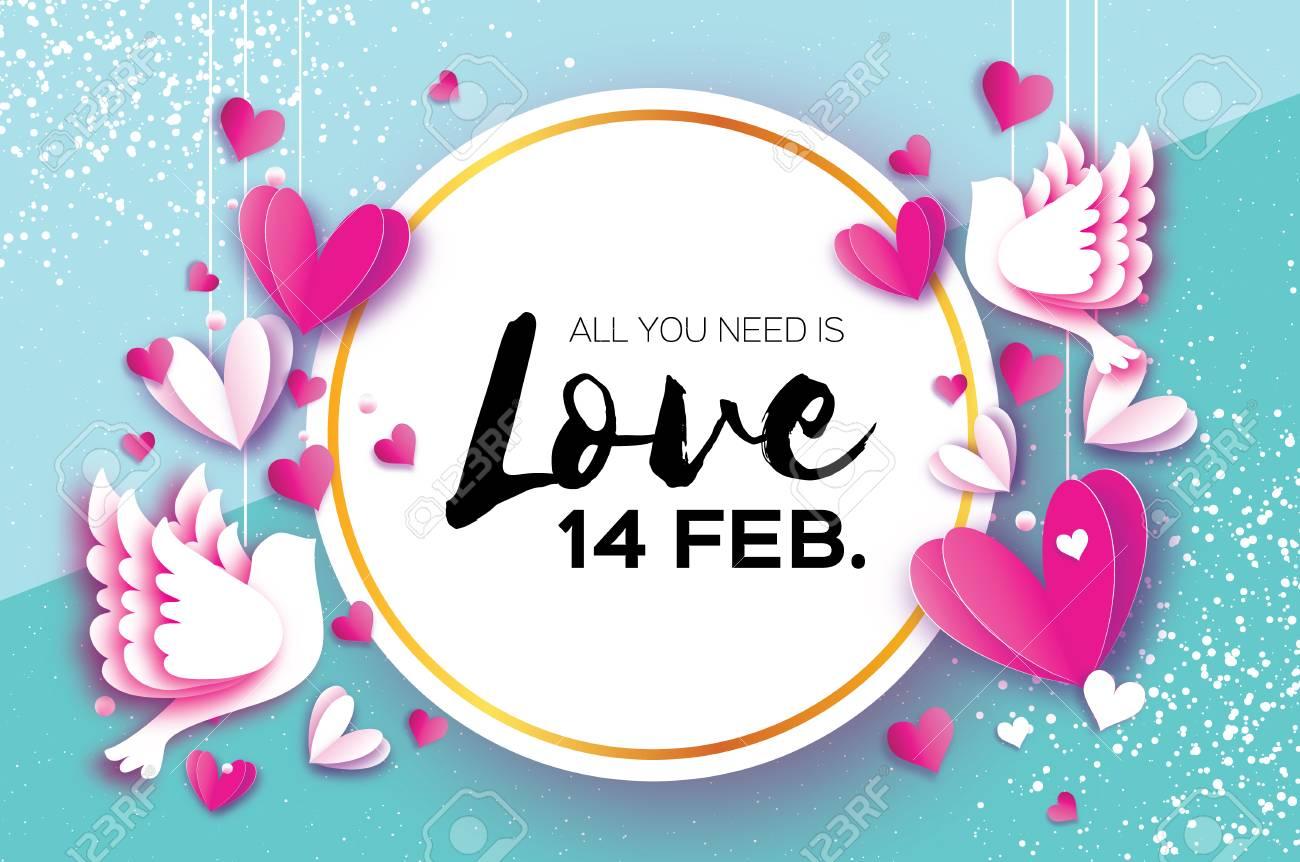 Happy Valentine Day. Romantic Holidays. 14 February. Circle Frame ...