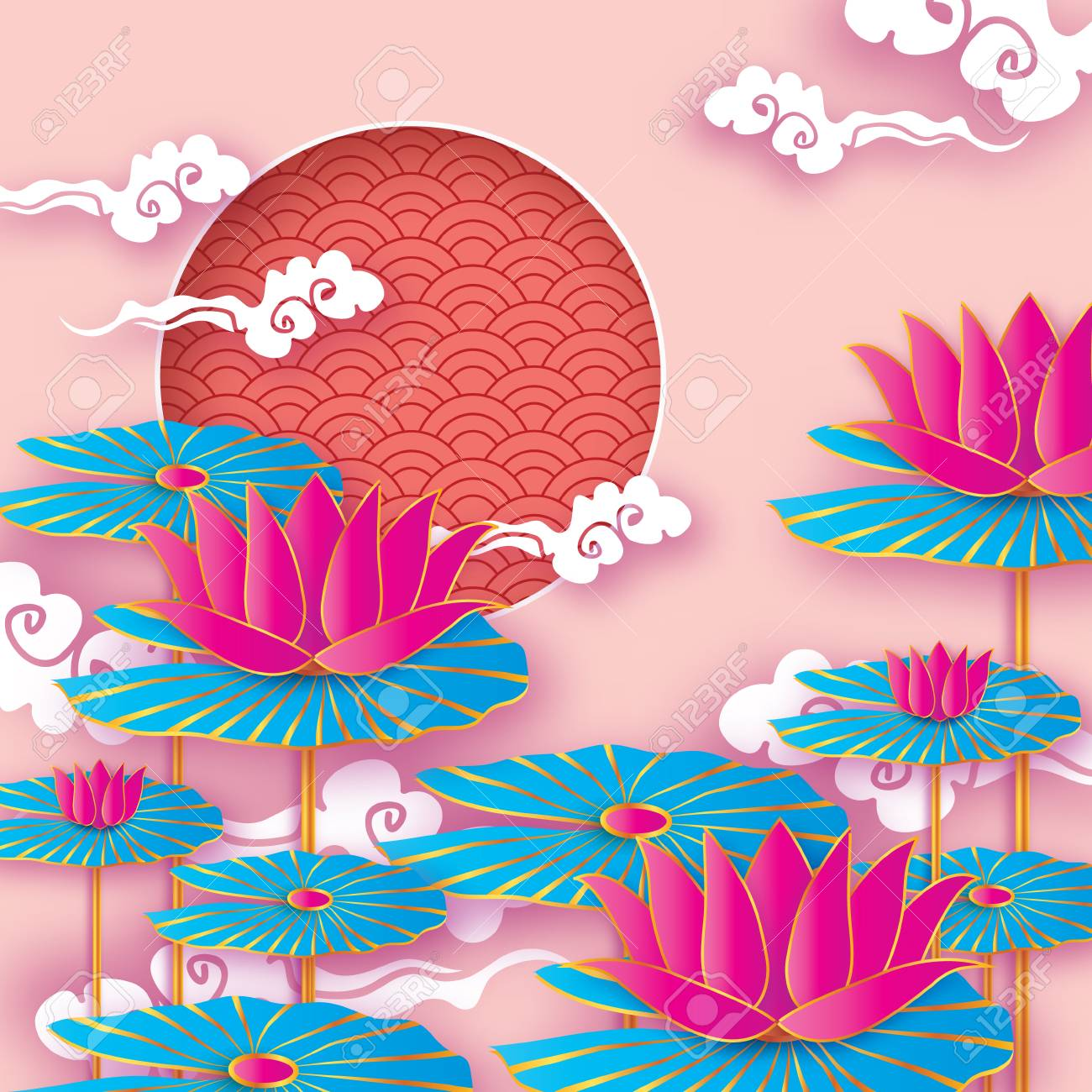 Beau Nenuphar Origami Ou Fleur De Lotus Bonne Annee Chinoise Du