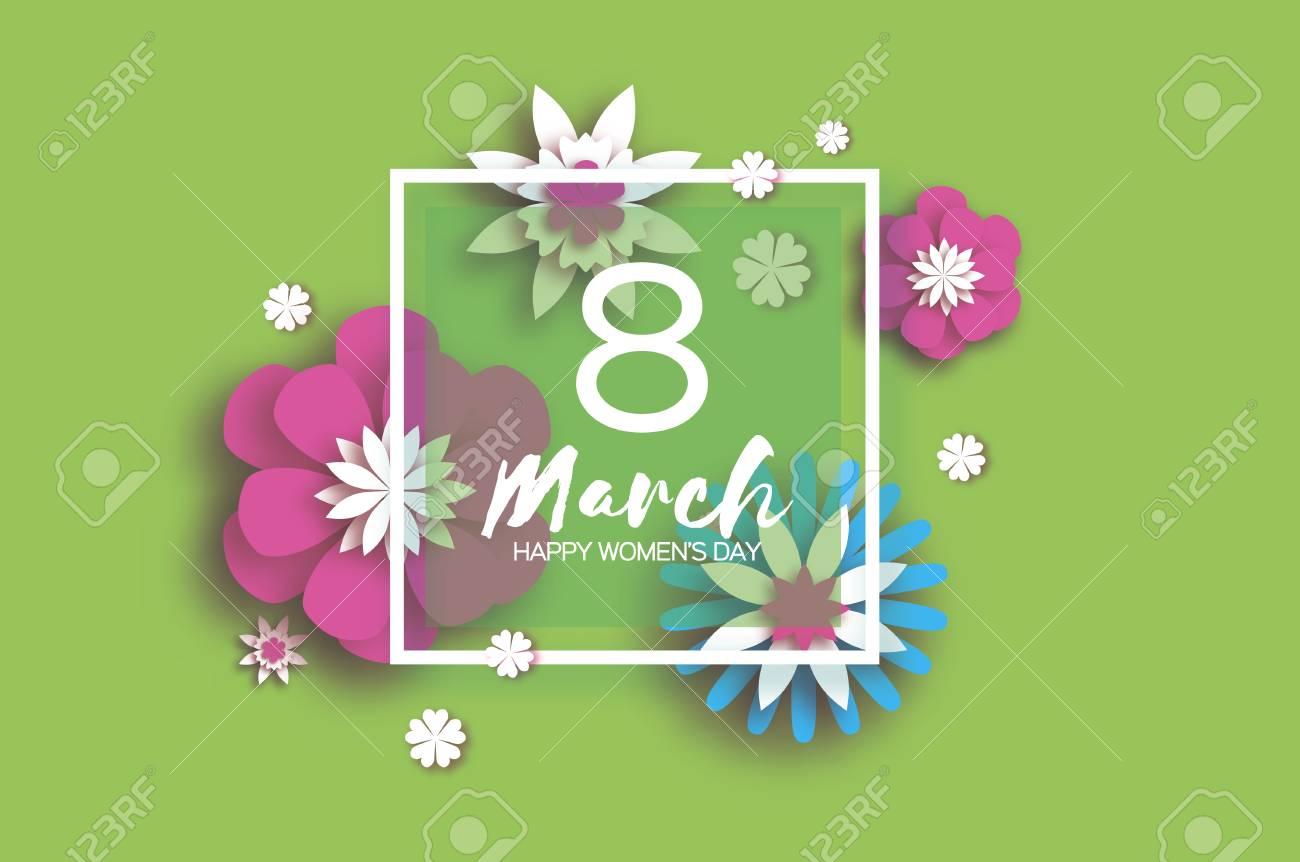 8. März. Muttertag Der Glücklichen Frauen. Blumengrußkarte. Papier ...
