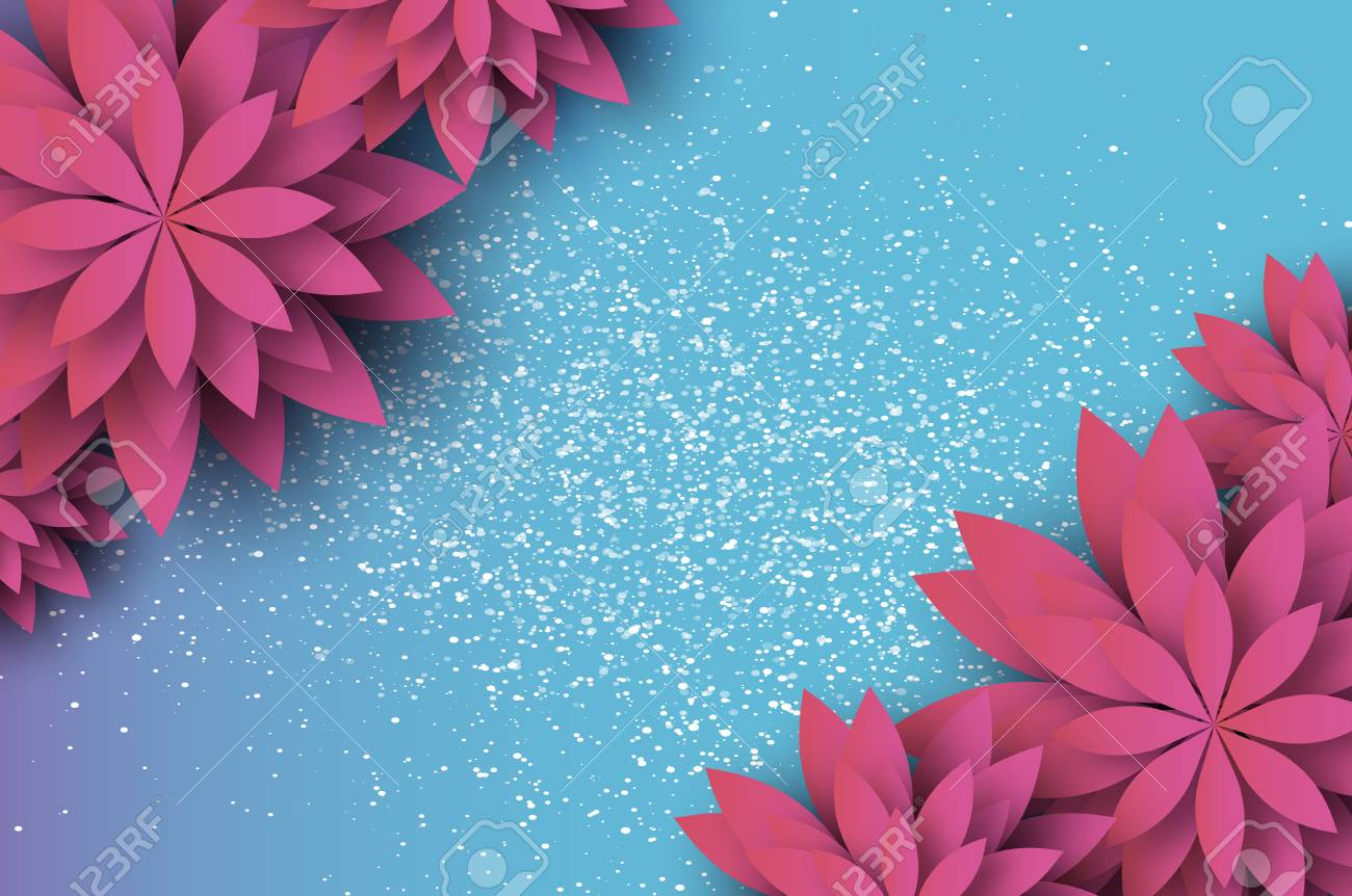 Paper Cut Pink Floral Greeting Card Origami Flower Space For