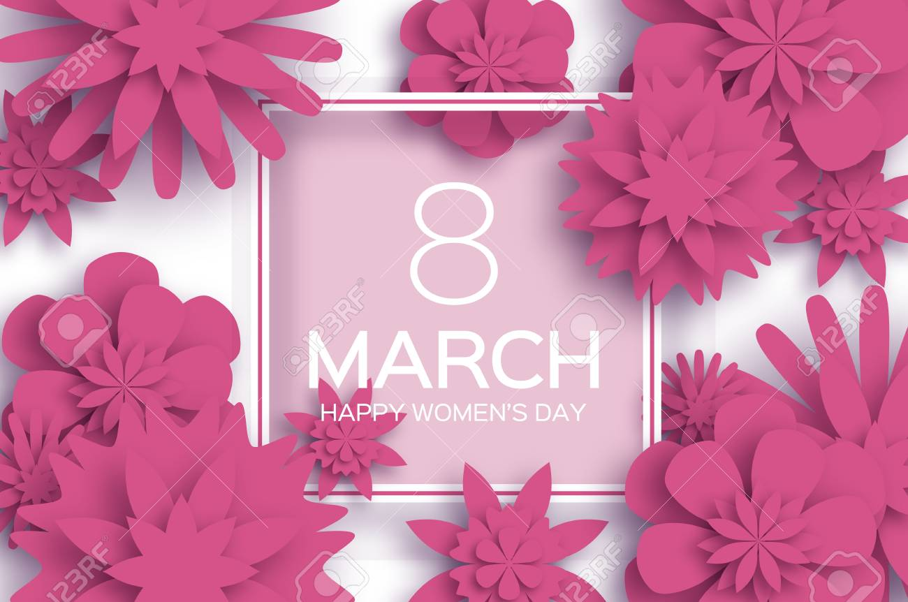 Pink 8 march happy womens day paper cut floral greeting card paper cut floral greeting card origami flower mightylinksfo
