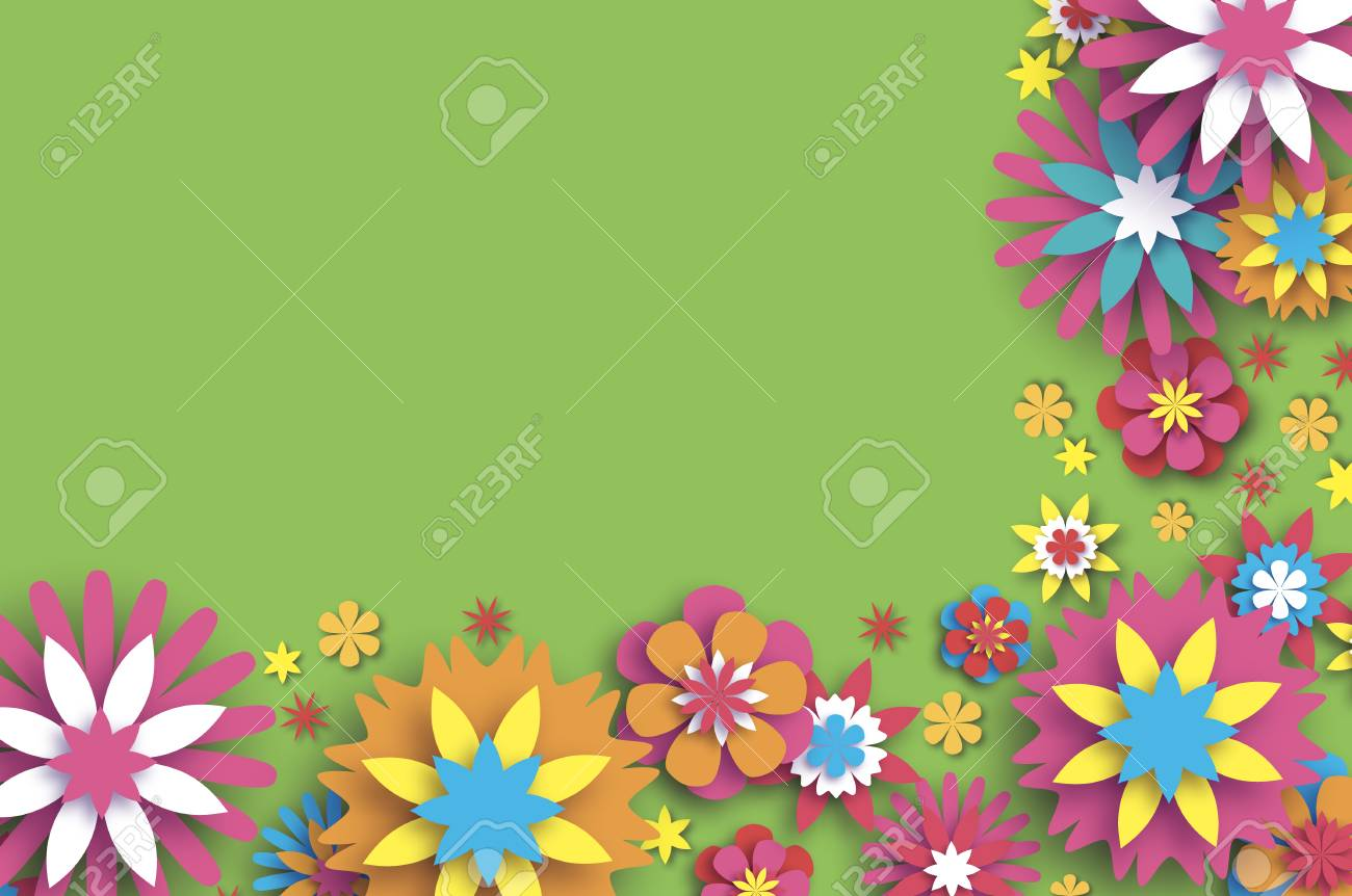 Colorful floral card paper cut flowers border composition origami colorful floral card paper cut flowers border composition origami daisy rose flower text mightylinksfo