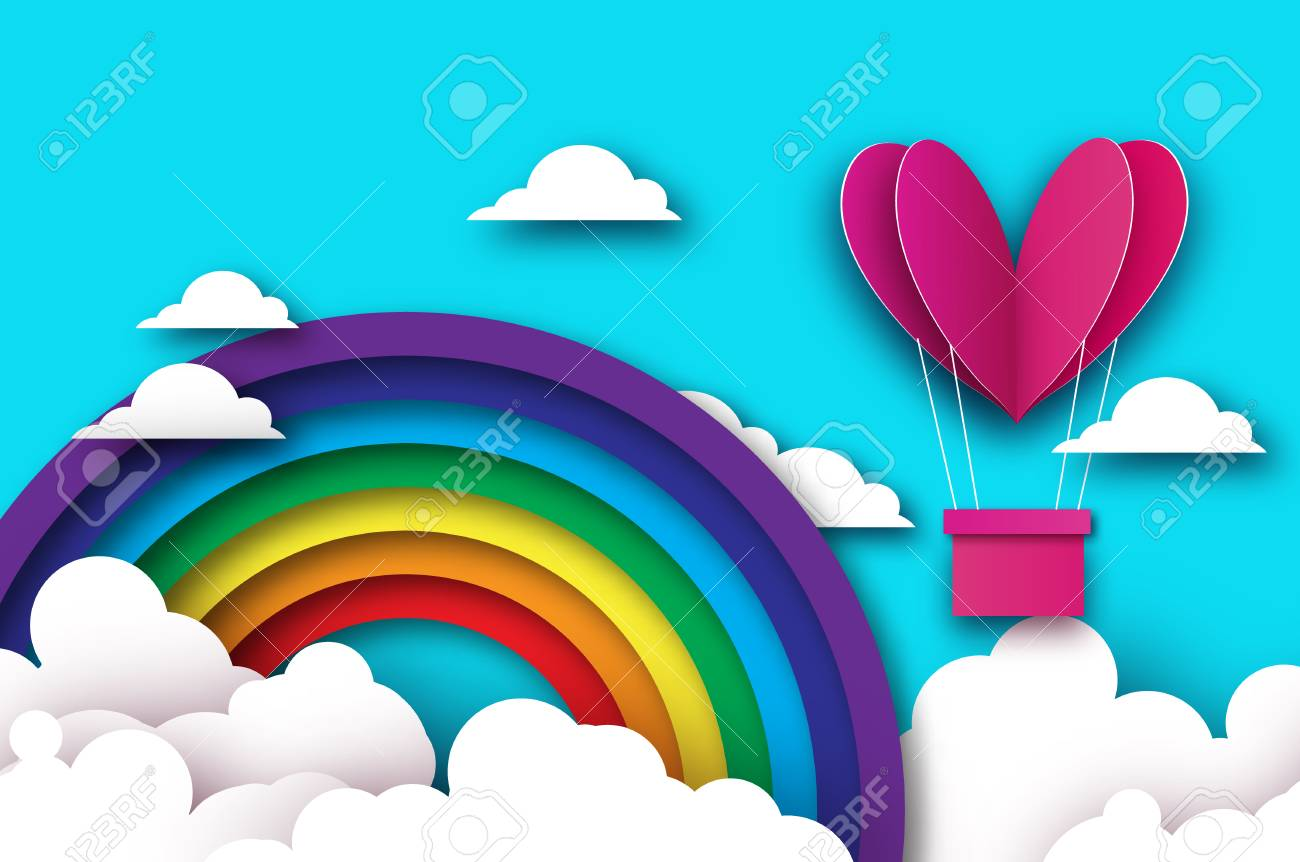 Heart shape Pink hot air balloon flying. Love in paper cut style. Origami Valentine day. Romantic Holidays. 14 February. Be my valentine. Blue sky with origami clouds and rainbow. - 94600078