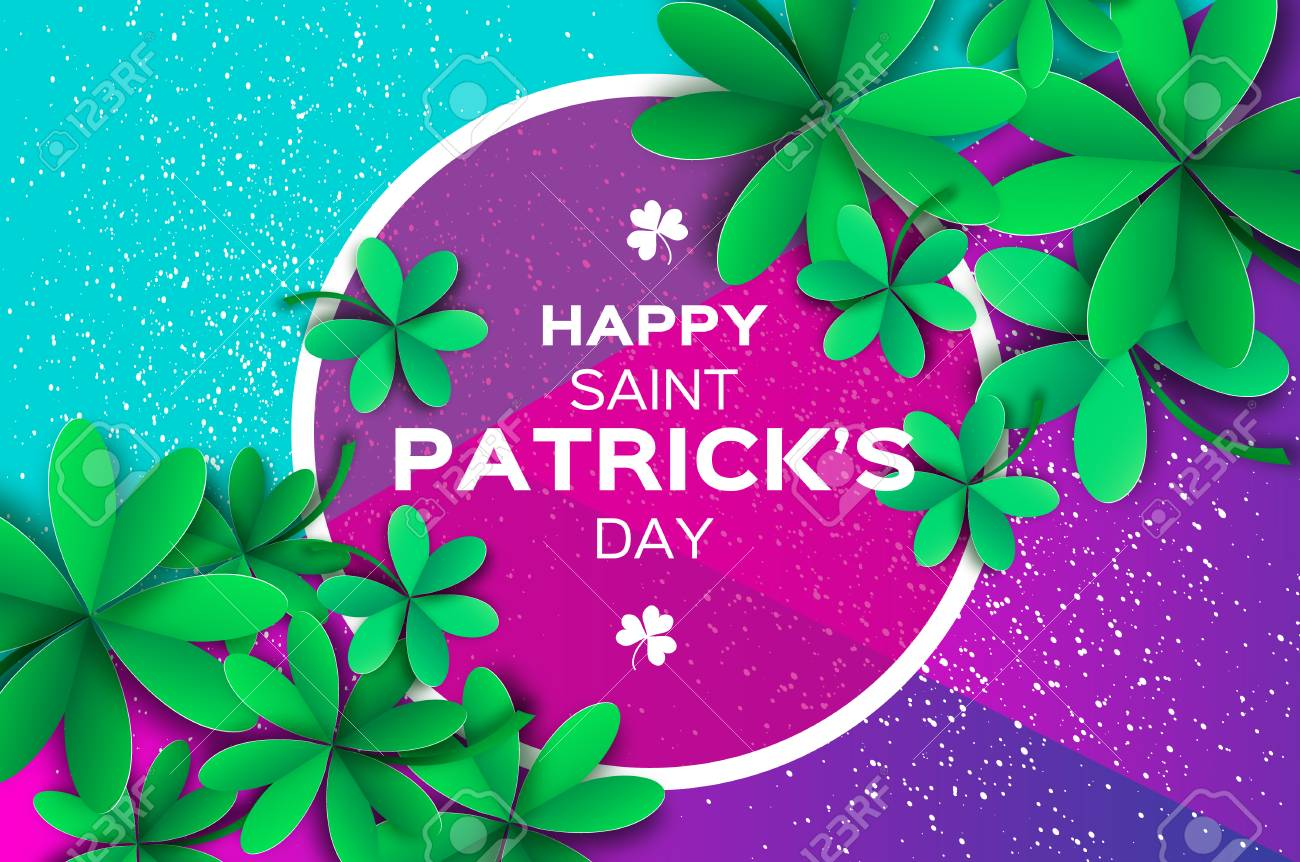 Happy St Patricks Day Greetings Card Four And Three Leaf Clover