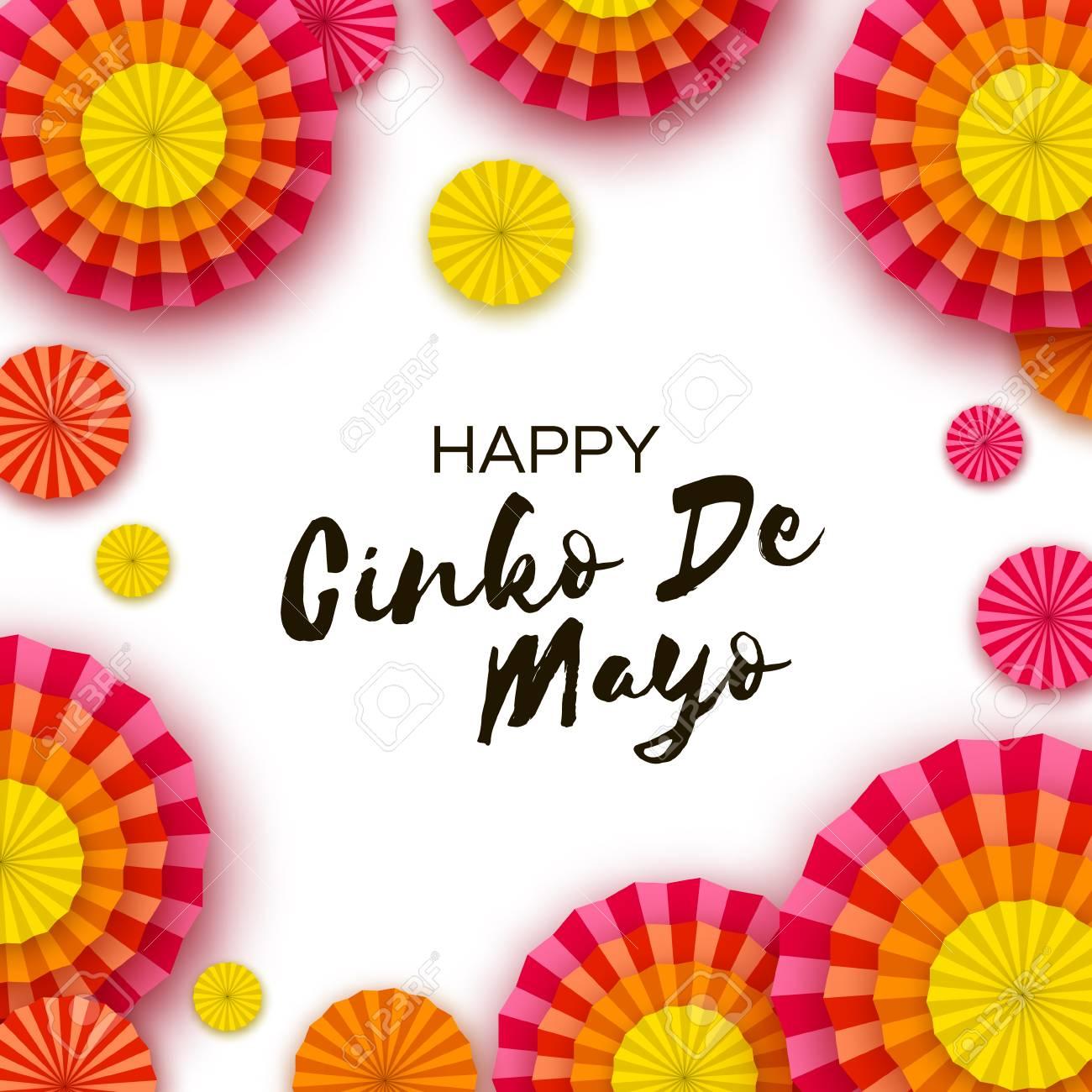 Happy Cinco De Mayo Greeting Card Colorful Paper Fan Mexico