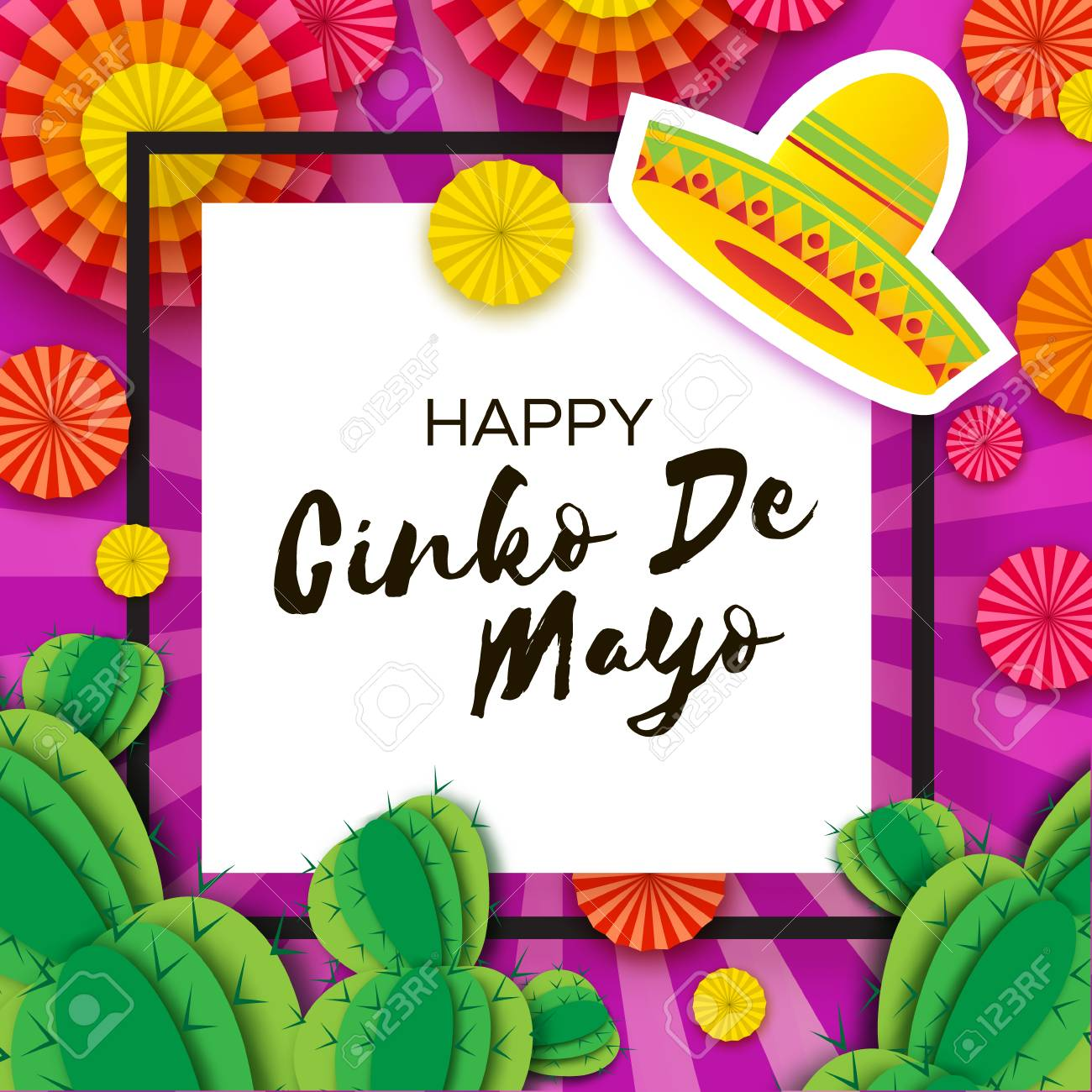 Happy cinco de mayo greeting card colorful paper fan and cactus happy cinco de mayo greeting card colorful paper fan and cactus in paper cut style m4hsunfo
