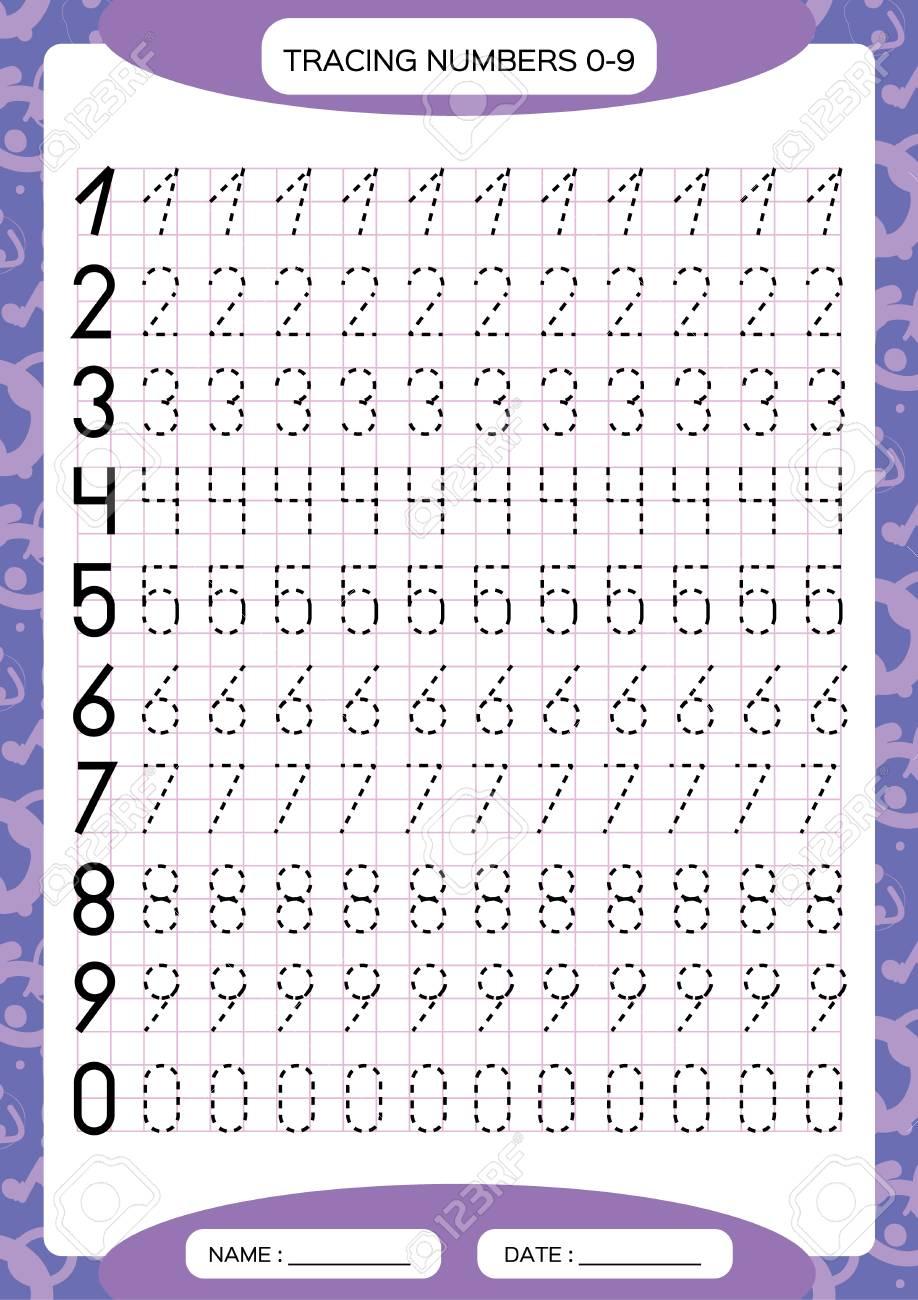 - Numbers 0-9. Tracing Worksheet For Kids. Preschool Worksheet