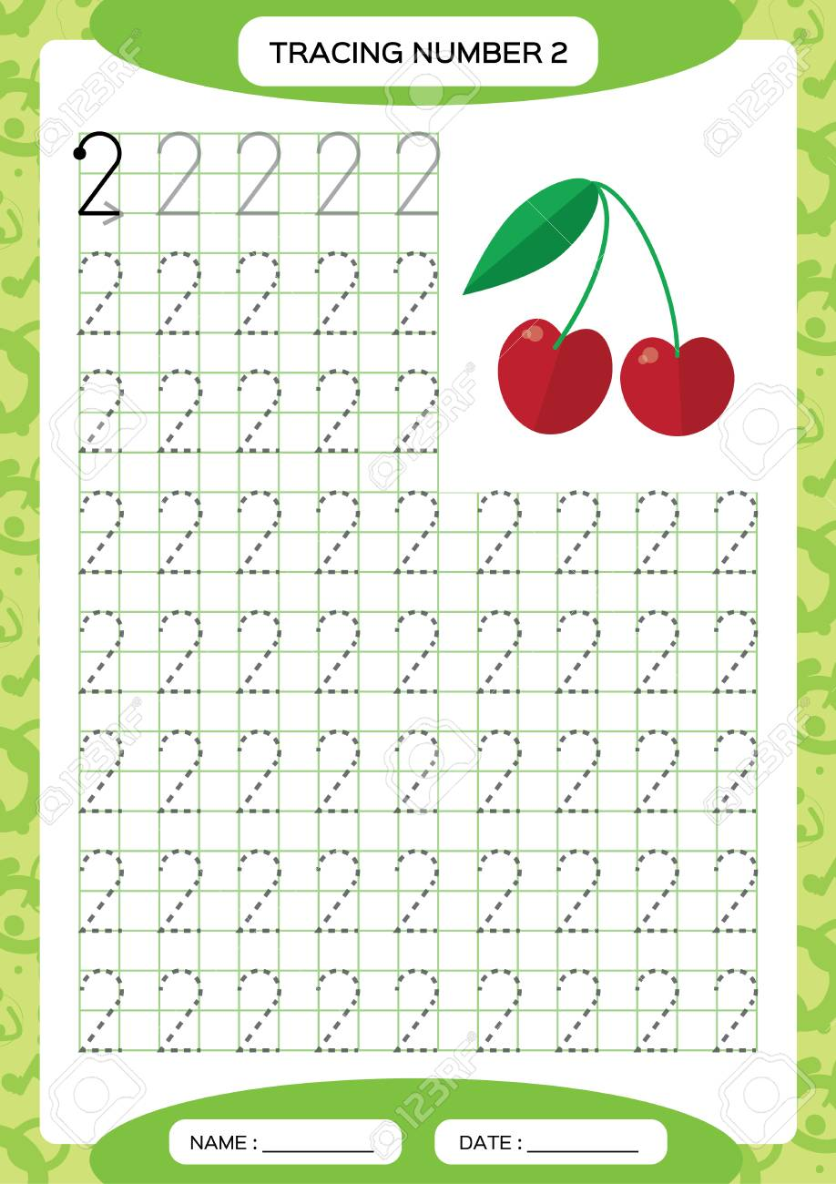 Number 2. Two Tracing Worksheet. Cherry berry. Preschool worksheet, practicing motor skills - tracing dashed lines. A4 green. Vector - 112126869