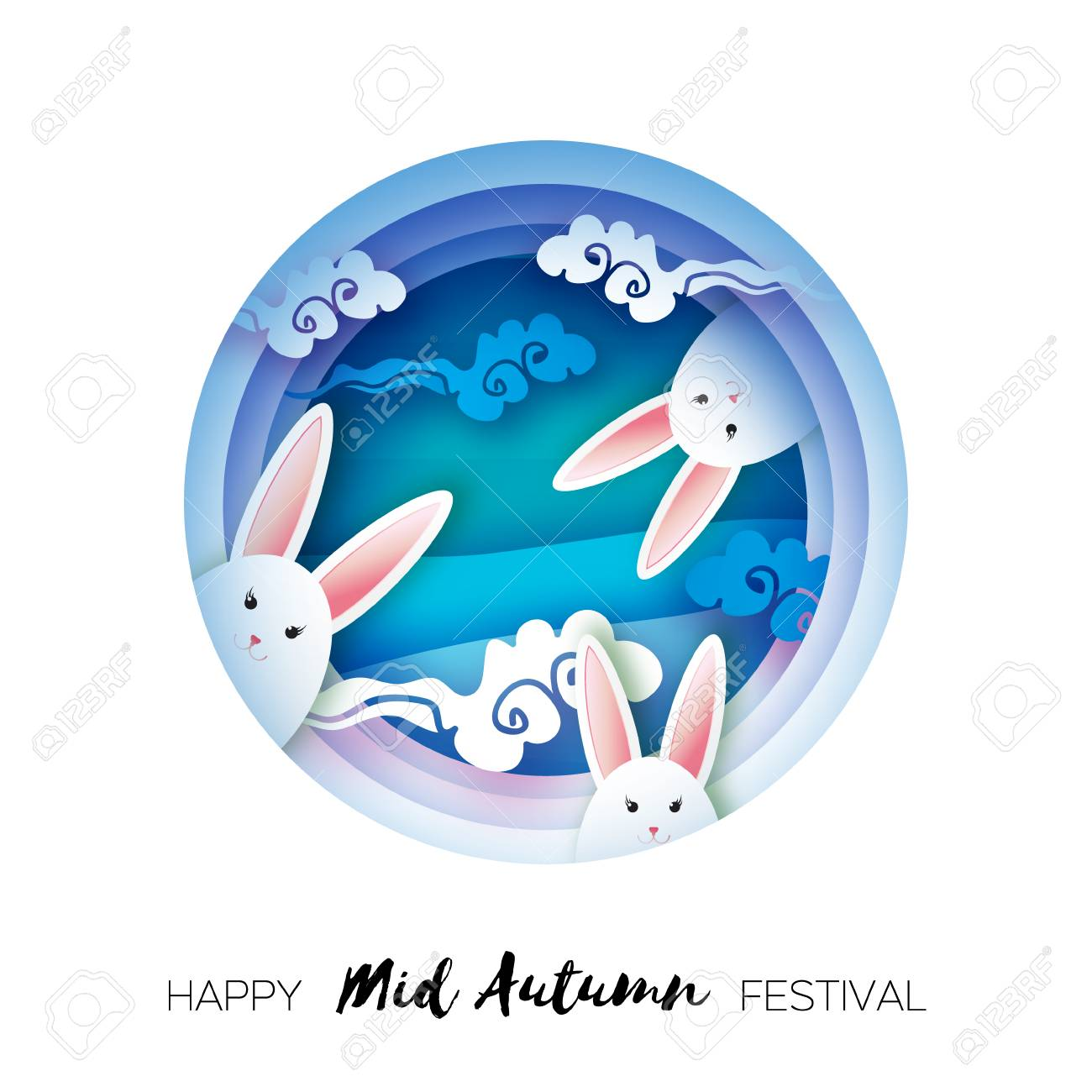 Happy Chinese Mid Autumn Festival in paper cut style. Moon rabbit. Moon gate. Chuseok. Chinese holiday. Vector - 106348554