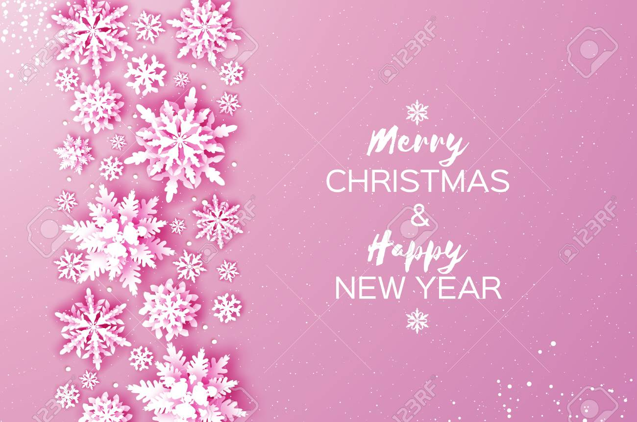 merry christmas and happy new year greetings card white paper cut snowflakes origami winter
