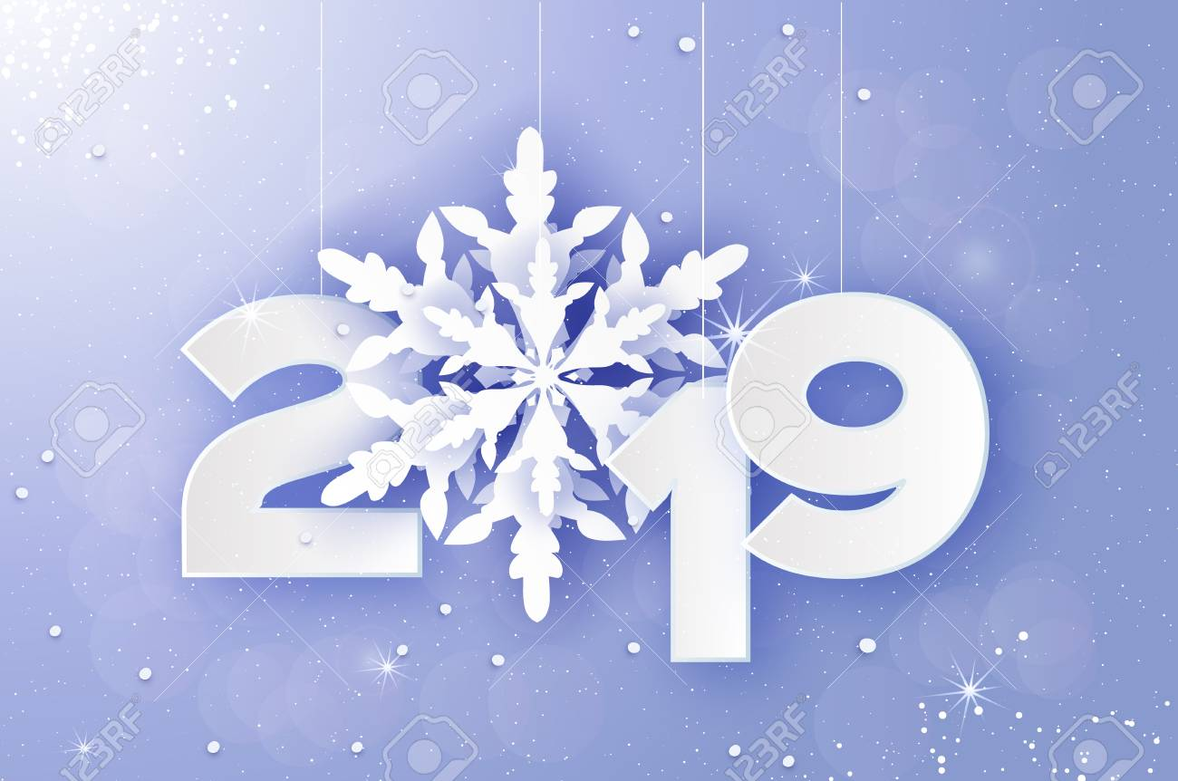 2019, Merry Christmas and Happy New Year Greetings card. White Paper cut snowflakes. Origami Decoration background. Seasonal holidays. Snowfall. Winter text. Purple. Vector - 126834245