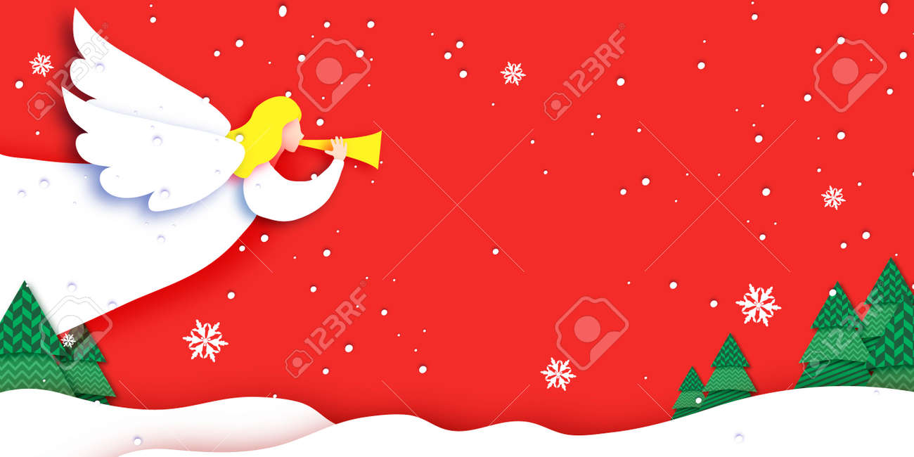 Merry Christmas Greetings Card with white Angels and beautiful winter landscape. Winter holidays. Happy New Year. Red background. - 157532228
