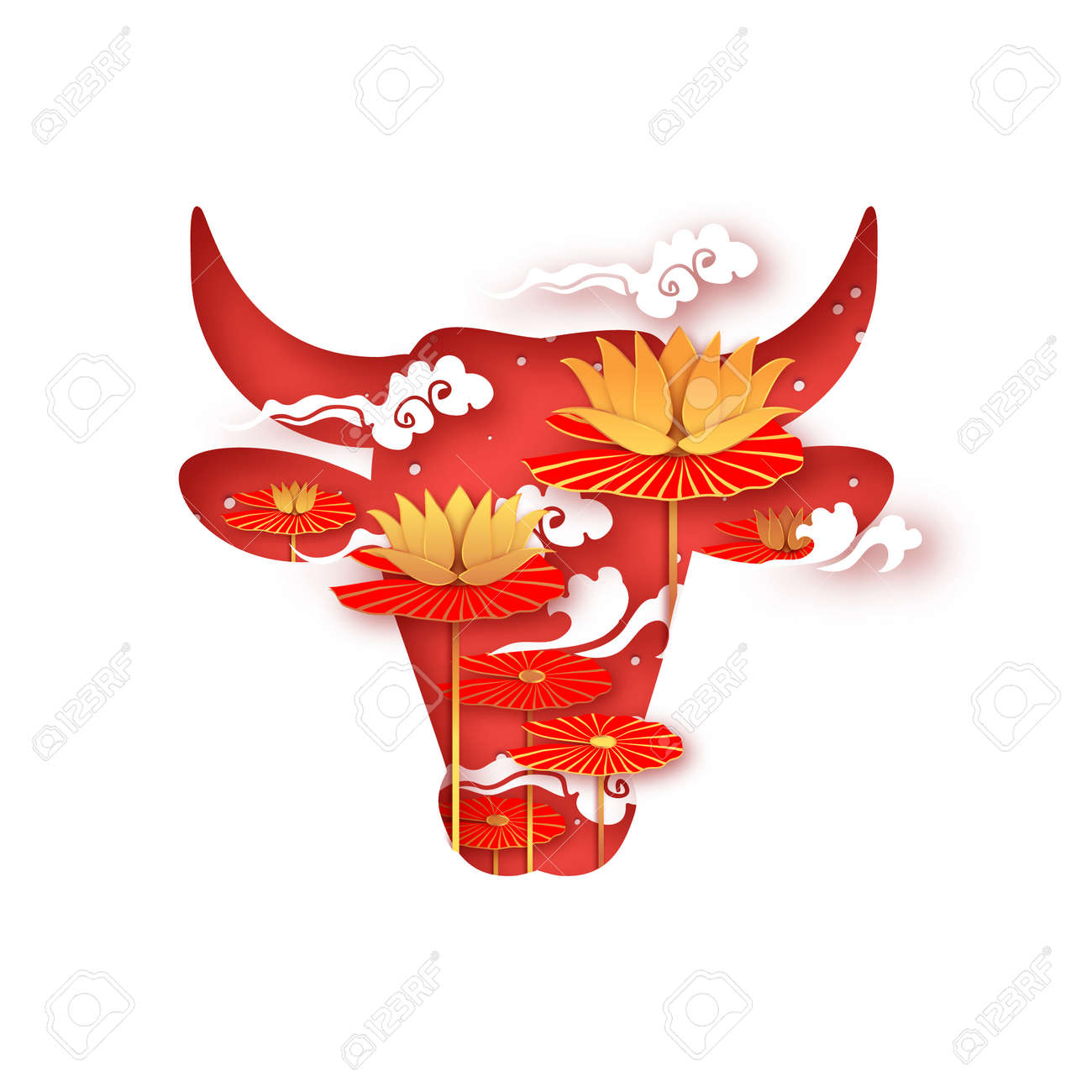 Bull New Year. Lotus Flower. Happy New Year. Bull, ox, cow. Lunar horoscope sign in paper cut style. Red and Gold. Winter holidays. - 160154909
