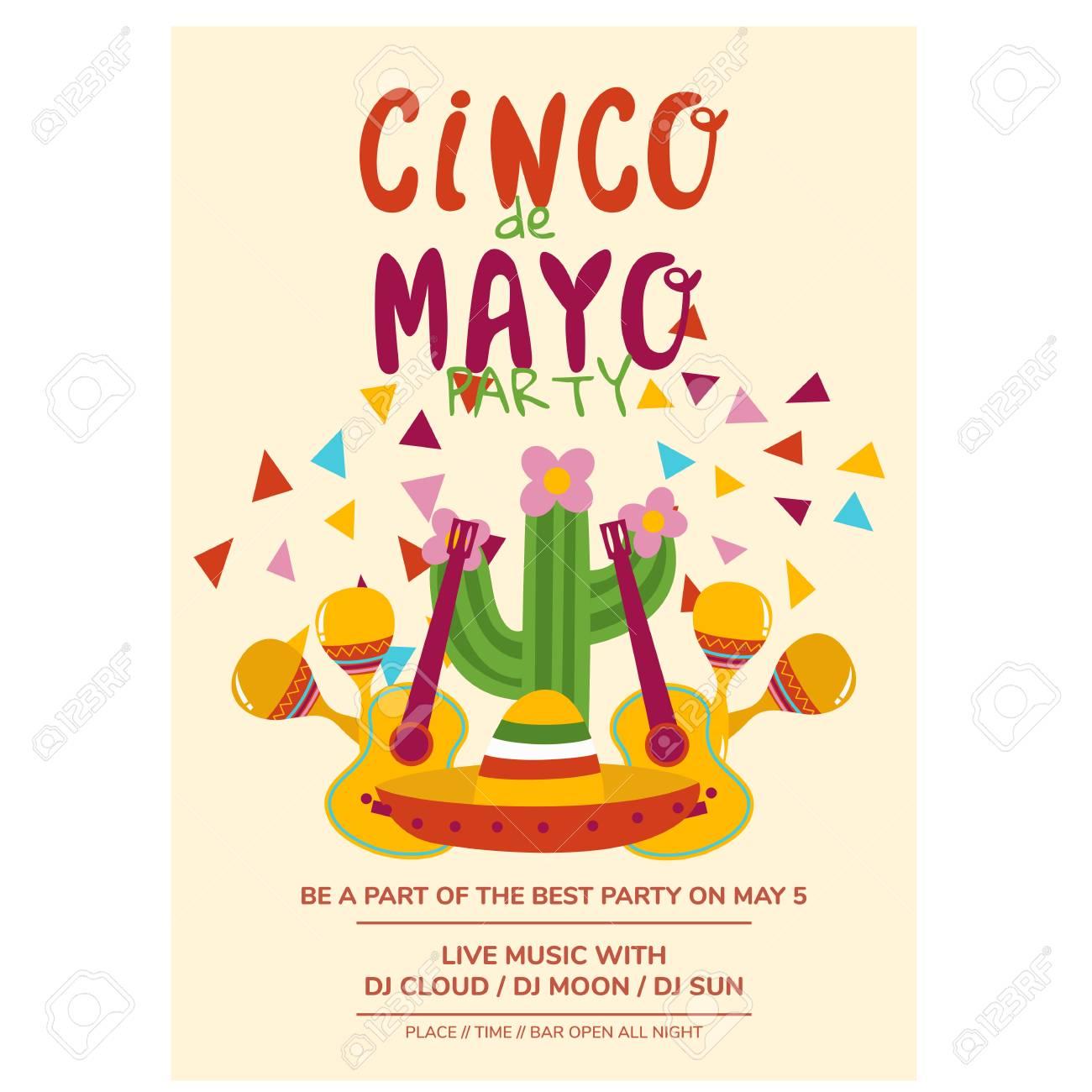 cinco de mayo flyer template party invitation cartoon vector