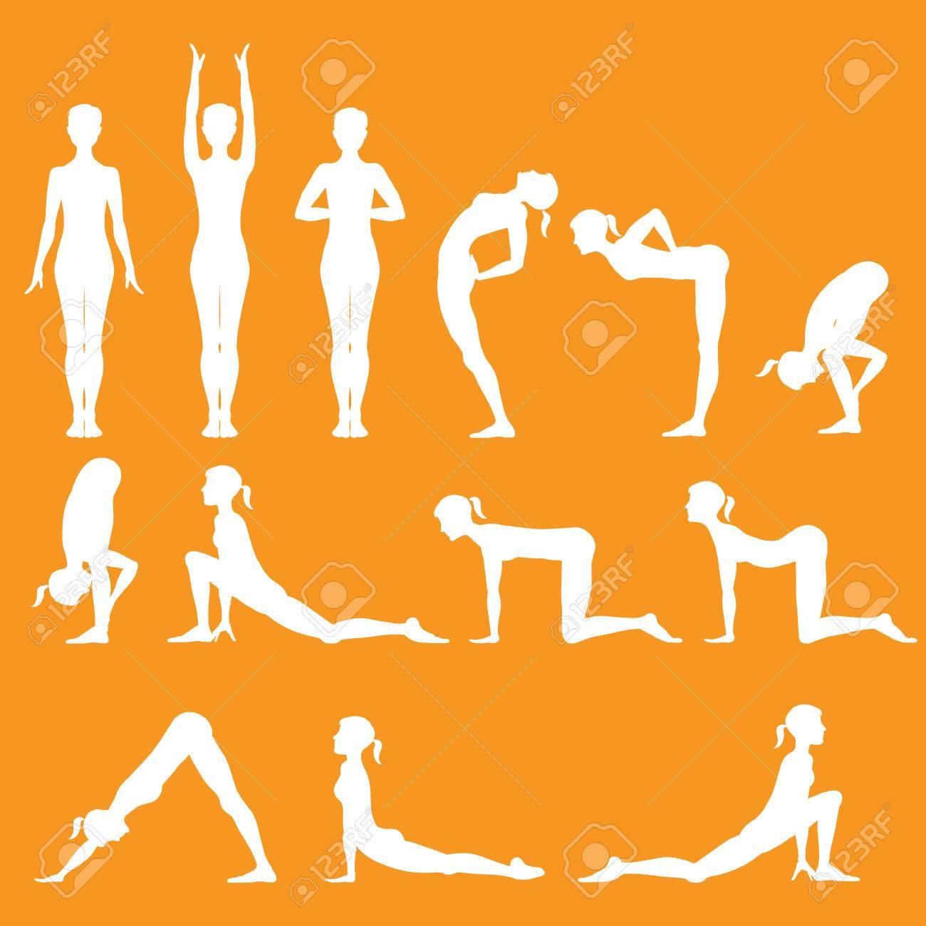 Set Of Yoga Poses Surya Namaskara Stock Vector