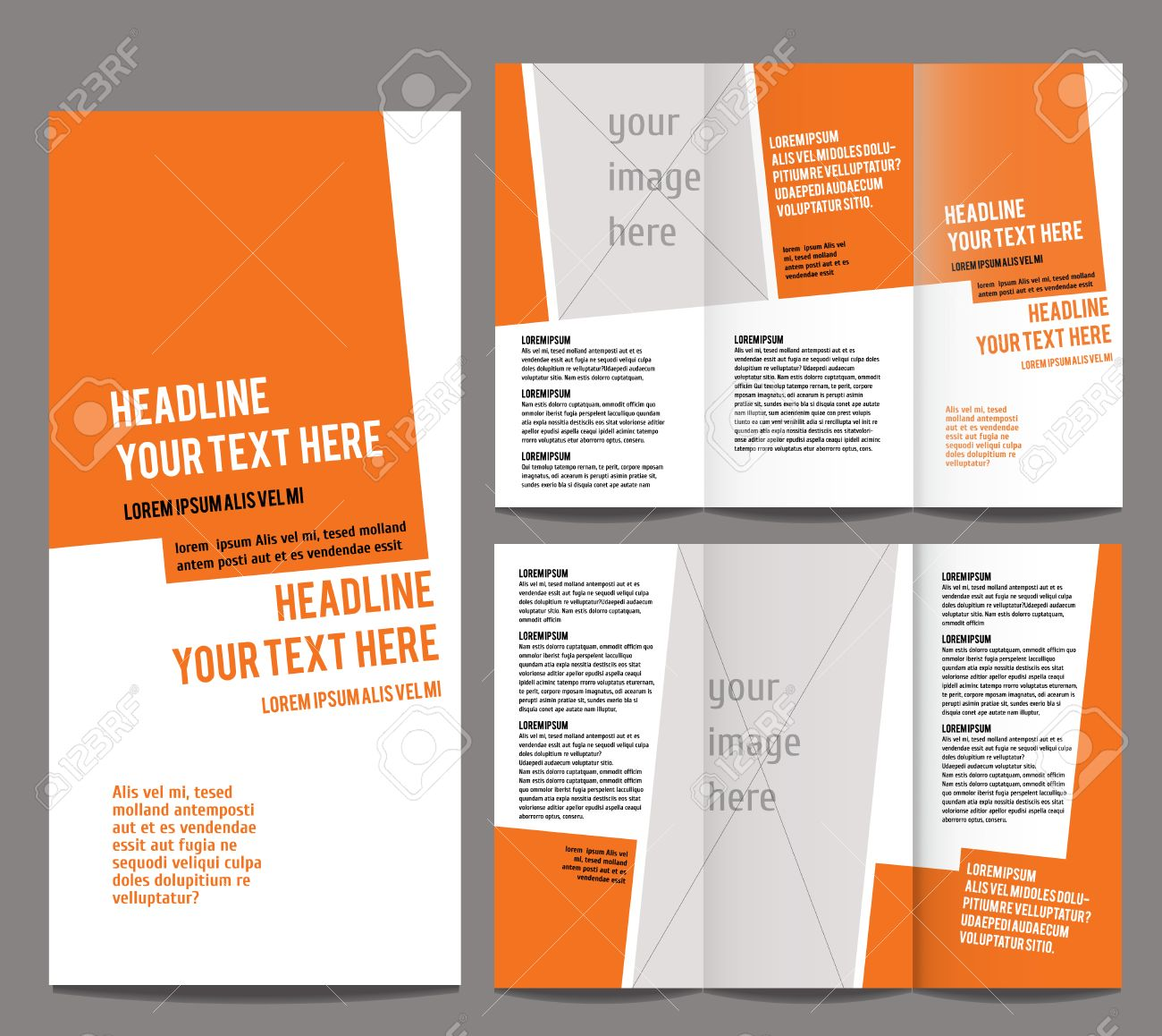 brochure design template trifold geometric abstract royalty free
