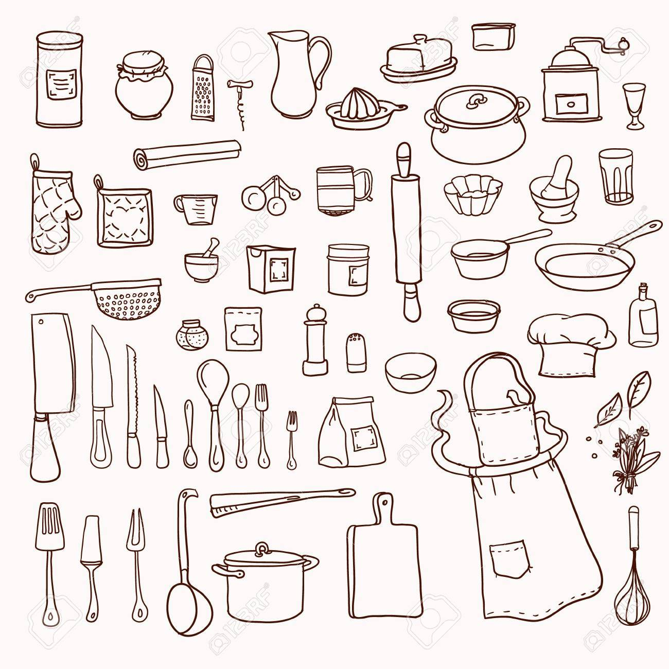 Cooking kitchen utensils collection retro set with doodle kitchen equipments vector illustration stock