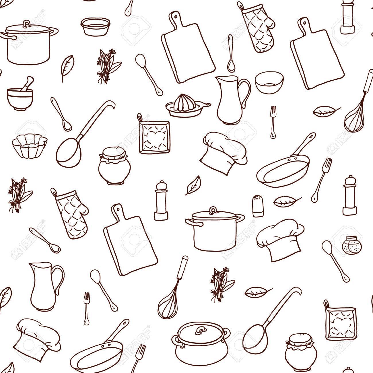 Nahtlose Muster Mit Hand Gezeichneten Kochgeschirr Auf Dem Papier ...