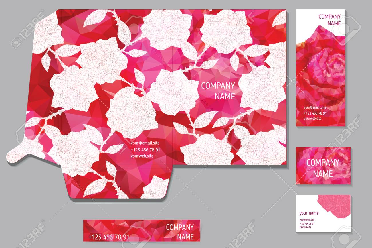 Set Of Cards And Invitations And A4 Folder With Abstract Floral ...