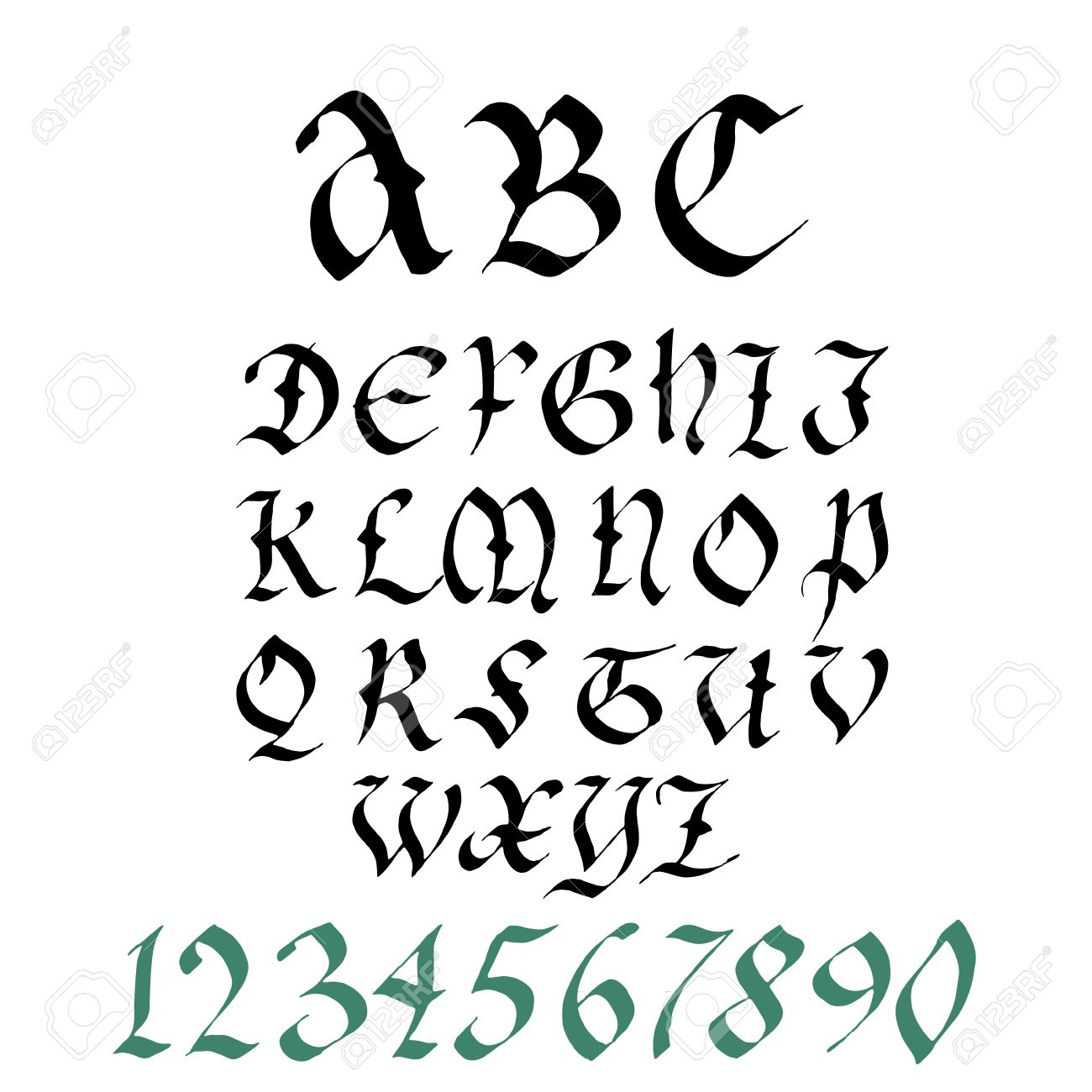Hand Drawn Gothic Ink Pen Artistic Font Set Includes Capital Letters Numbers Stock