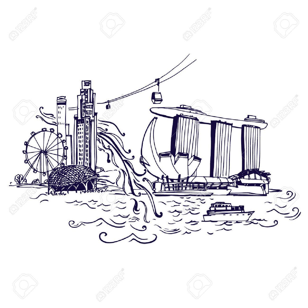 singapore city skyline at marina bay vector illustration places
