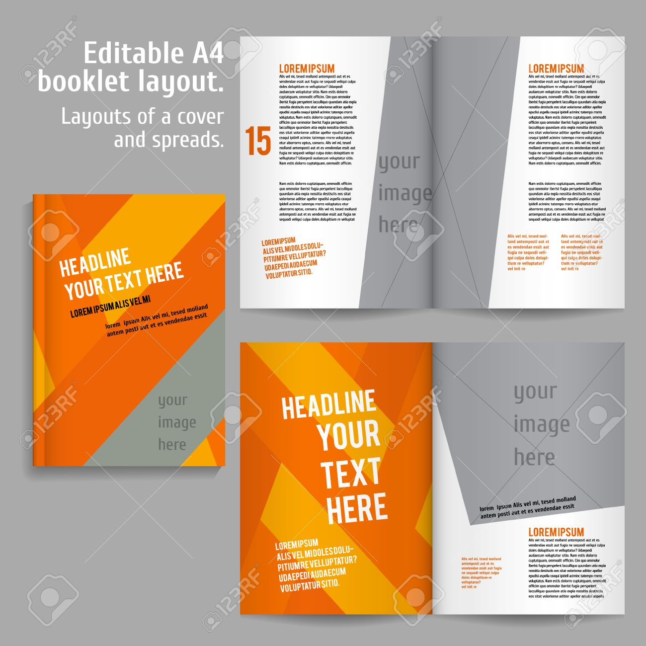 A4 book layout design template with cover and 2 spreads of contents a4 book layout design template with cover and 2 spreads of contents preview for design maxwellsz