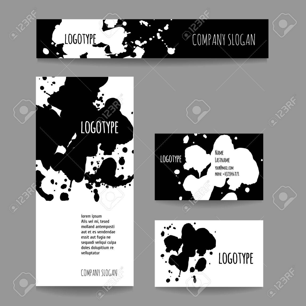Set Avec Carte De Visite Et La Bannire Vector Socit Style Pour