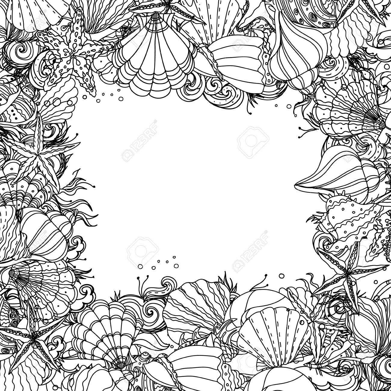 Ze zen inspiration coloring book - Vector Black And White Frame As Ornament Of Seashells Starfish Seaweed Could Be Use For Coloring Book In Zentangle Style
