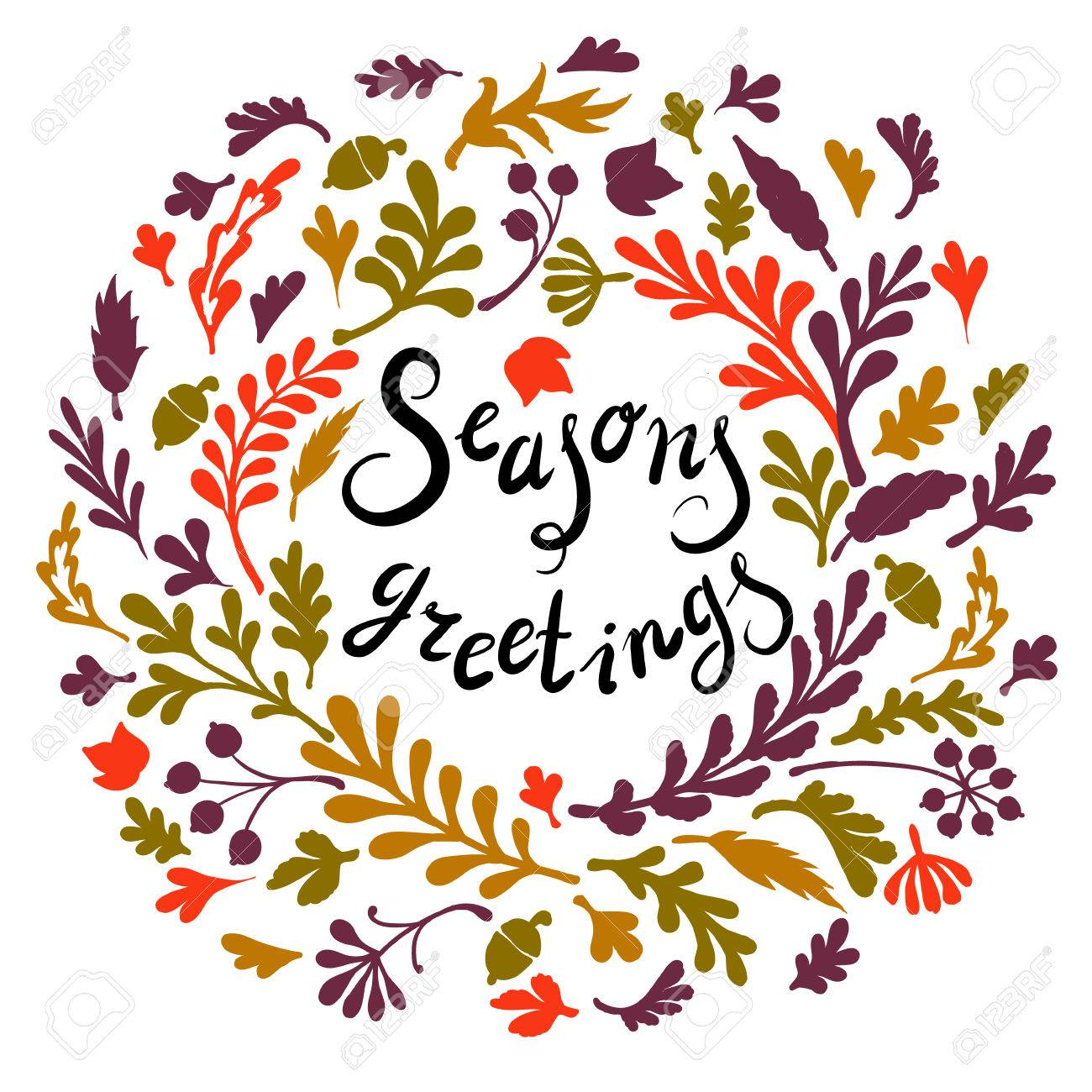 Vignette of colourfull leaves ncludes text seasons greetings vignette of colourfull leaves ncludes text seasons greetings vector illustration stock vector 45944386 kristyandbryce Image collections
