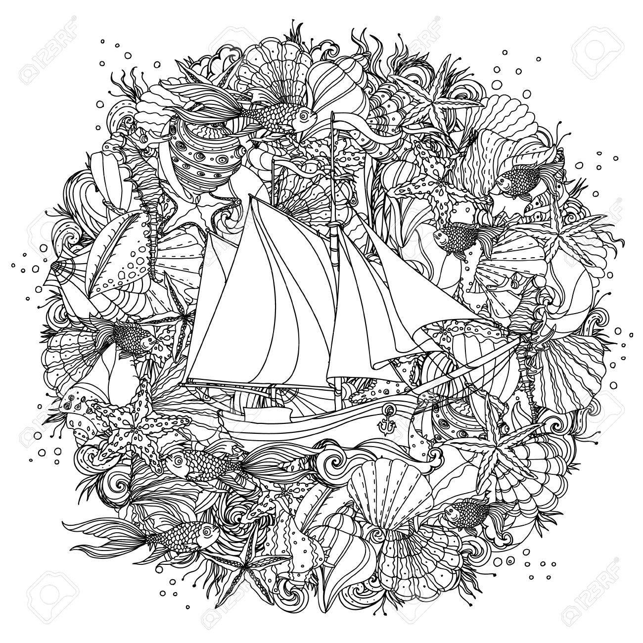 Circle Black And White Ornament Of Seashells, Starfish, Seaweed ...
