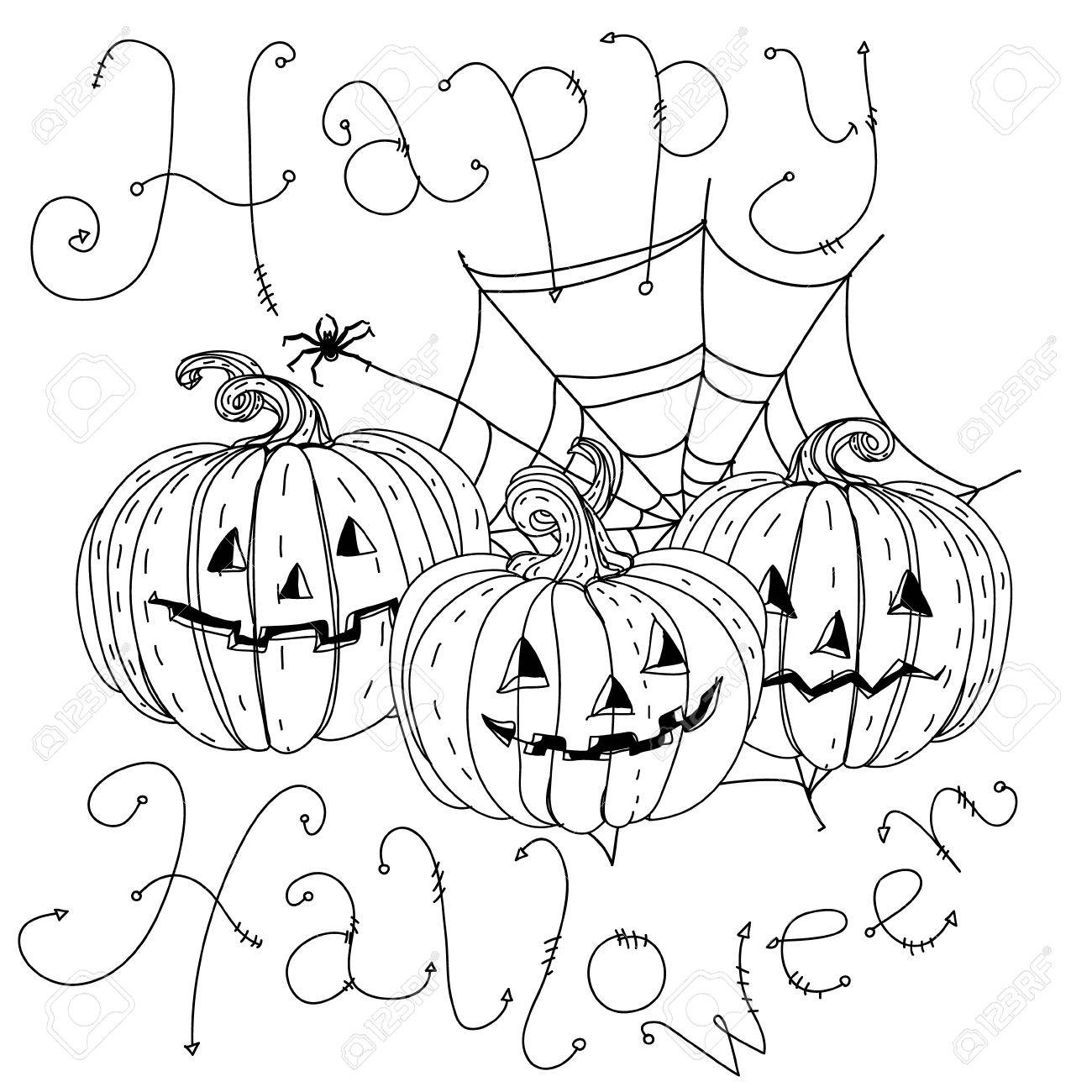 2019 year look- Halloween Happy coloring banner pictures