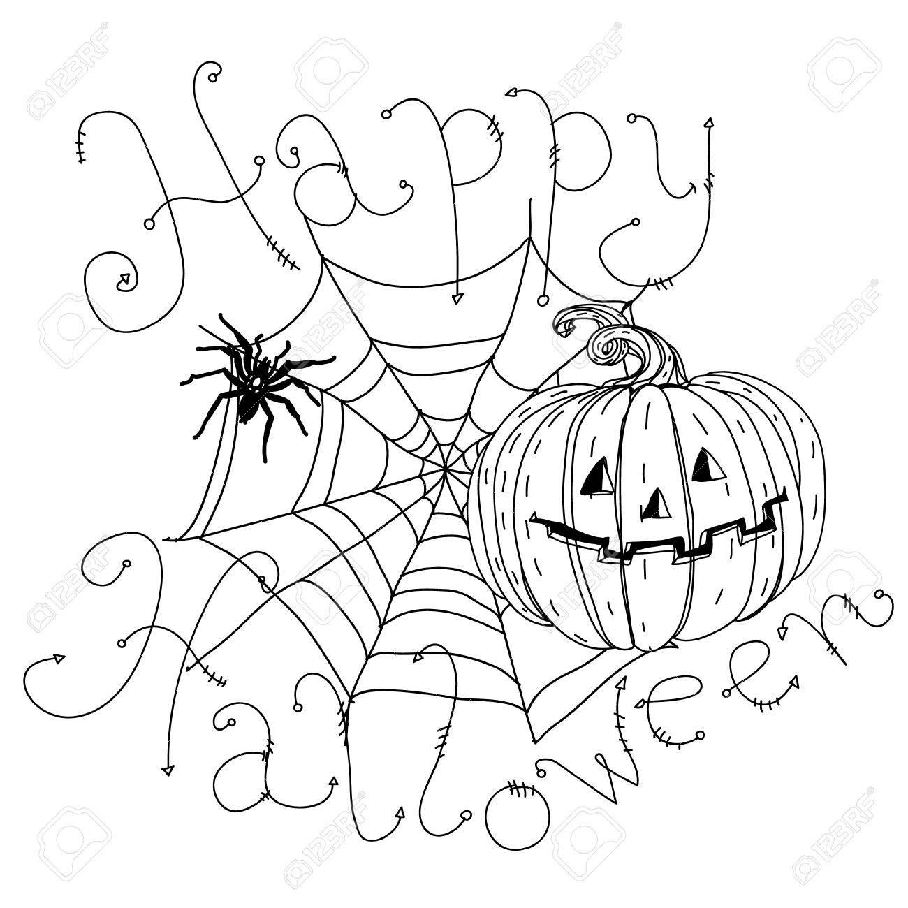 Bannière Noir Et Blanc Avec Des Toiles D Araignée Des Araignées Des Corbeaux Des Citrouilles Et Autres Décorations Sur Halloween Pourrait être