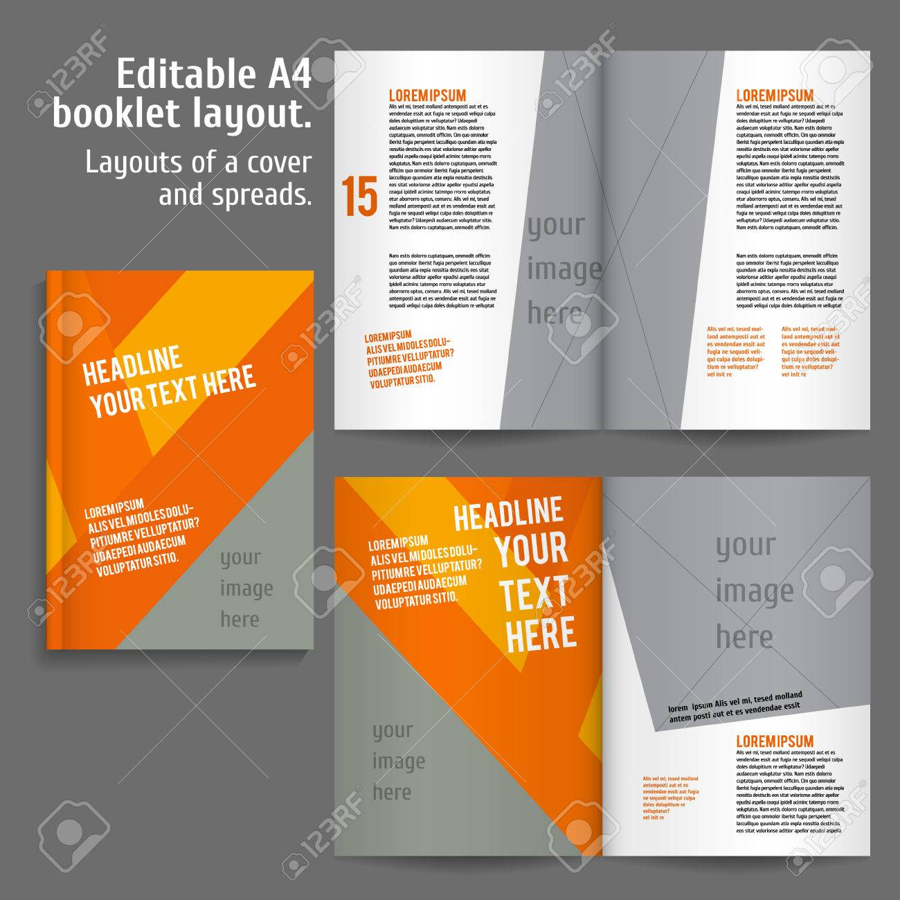 A4 Buch-Layout-Design-Vorlage Mit Deckel Und 2 Spreads Inhalts ...