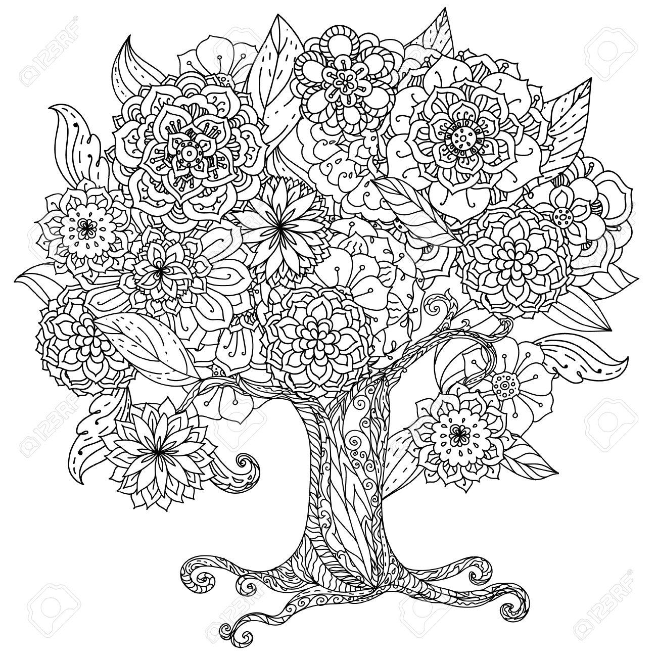 Forma De Círculo Orient árbol Blanco Y Negro Floral Podría Utilizar ...