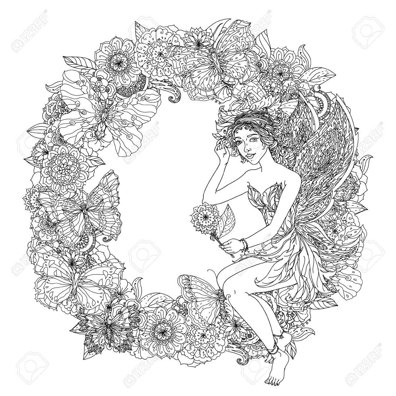 beautiful fashion woman with flowers in the image of a fairy